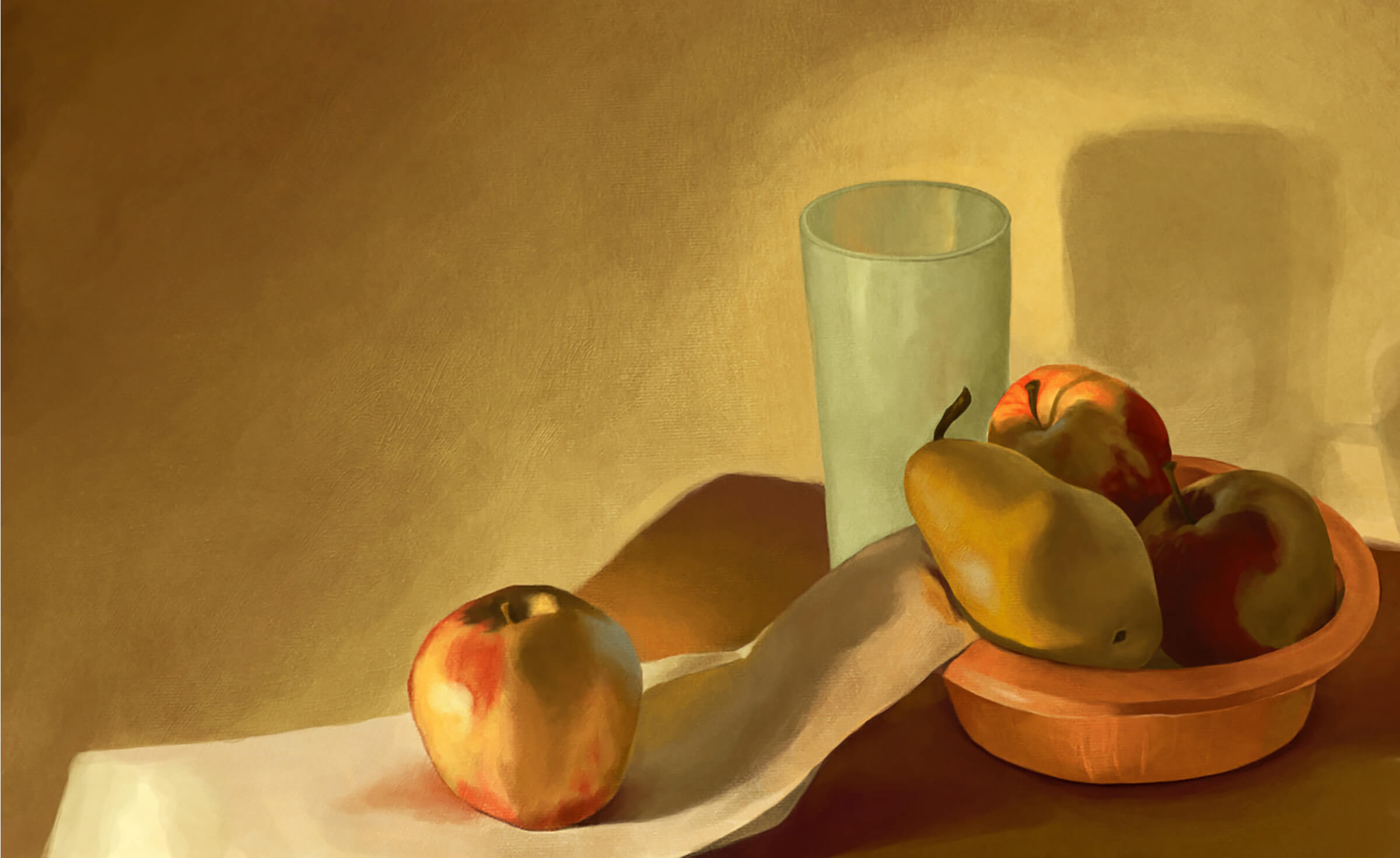 still-life traditional painting of bowl with apples and a pear, a glass, and another apple on a draped white napkin