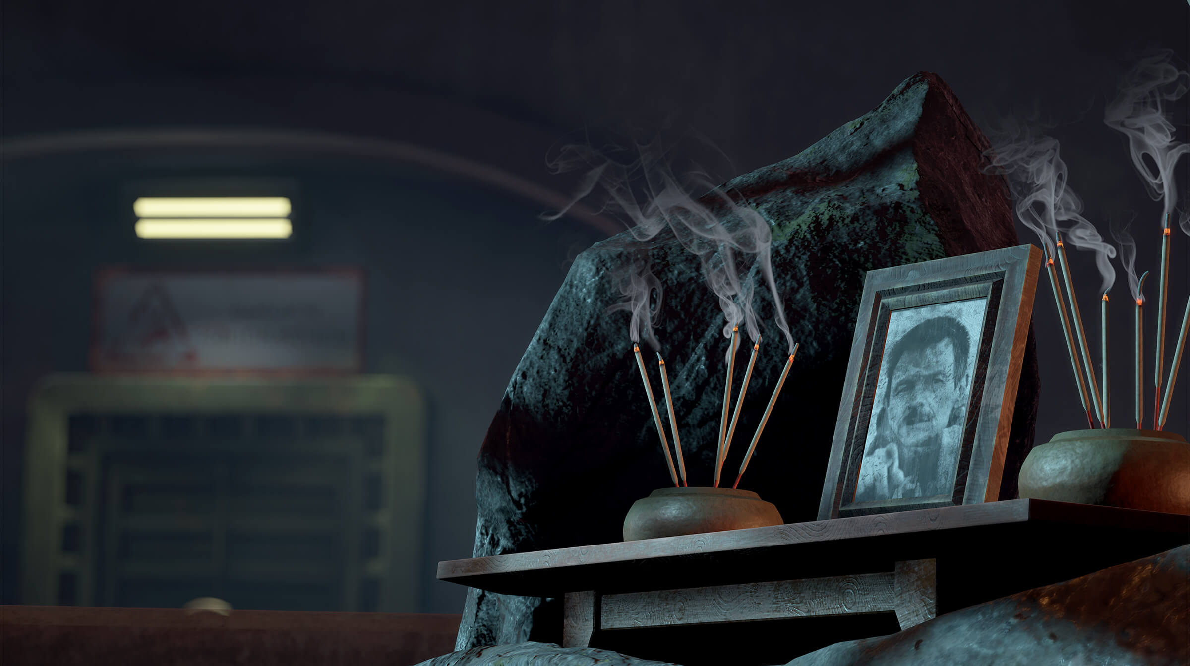 A framed picture of a man with lit incense surrounding it