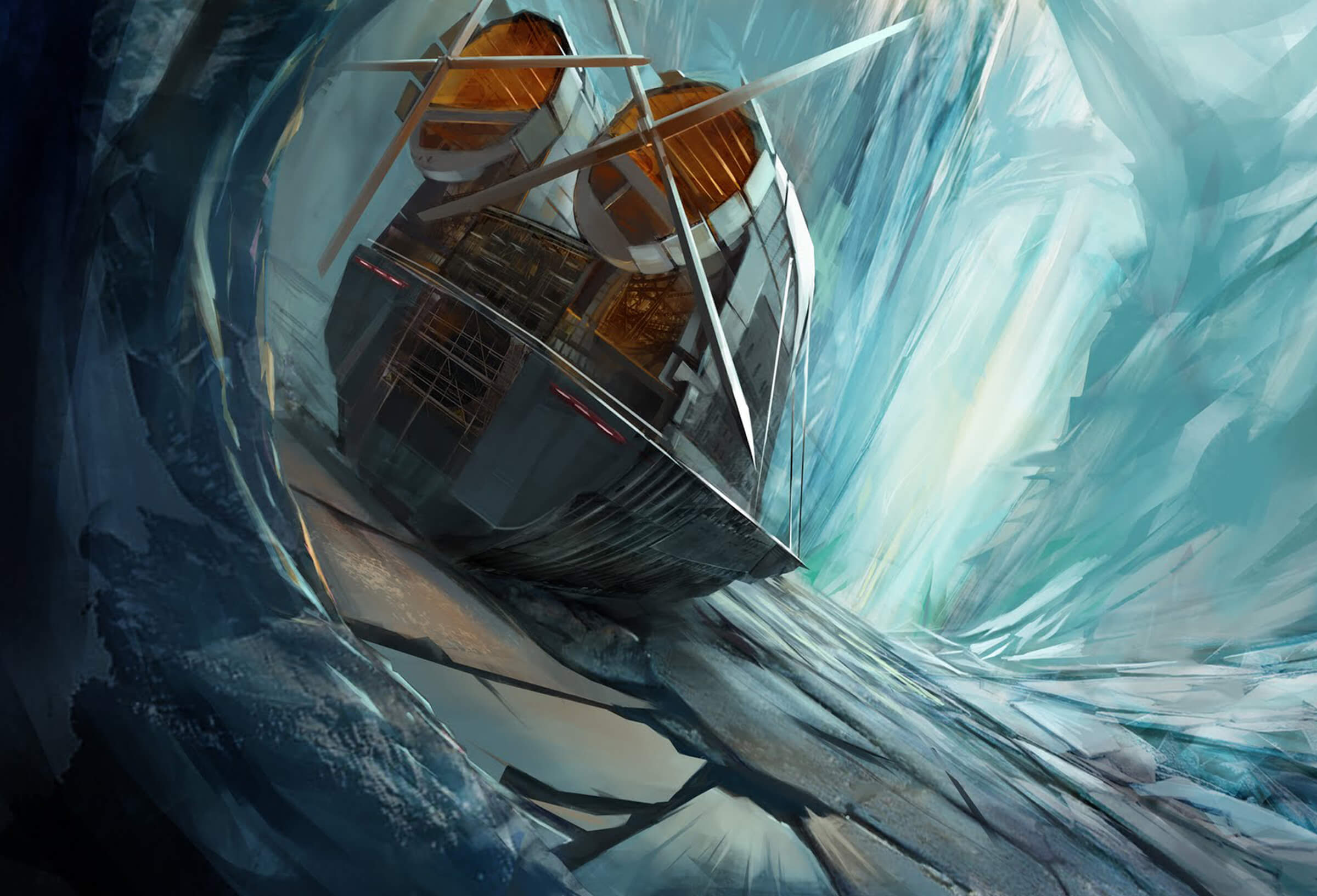 digital painting of a ship with huge propellers entering an icy cavern