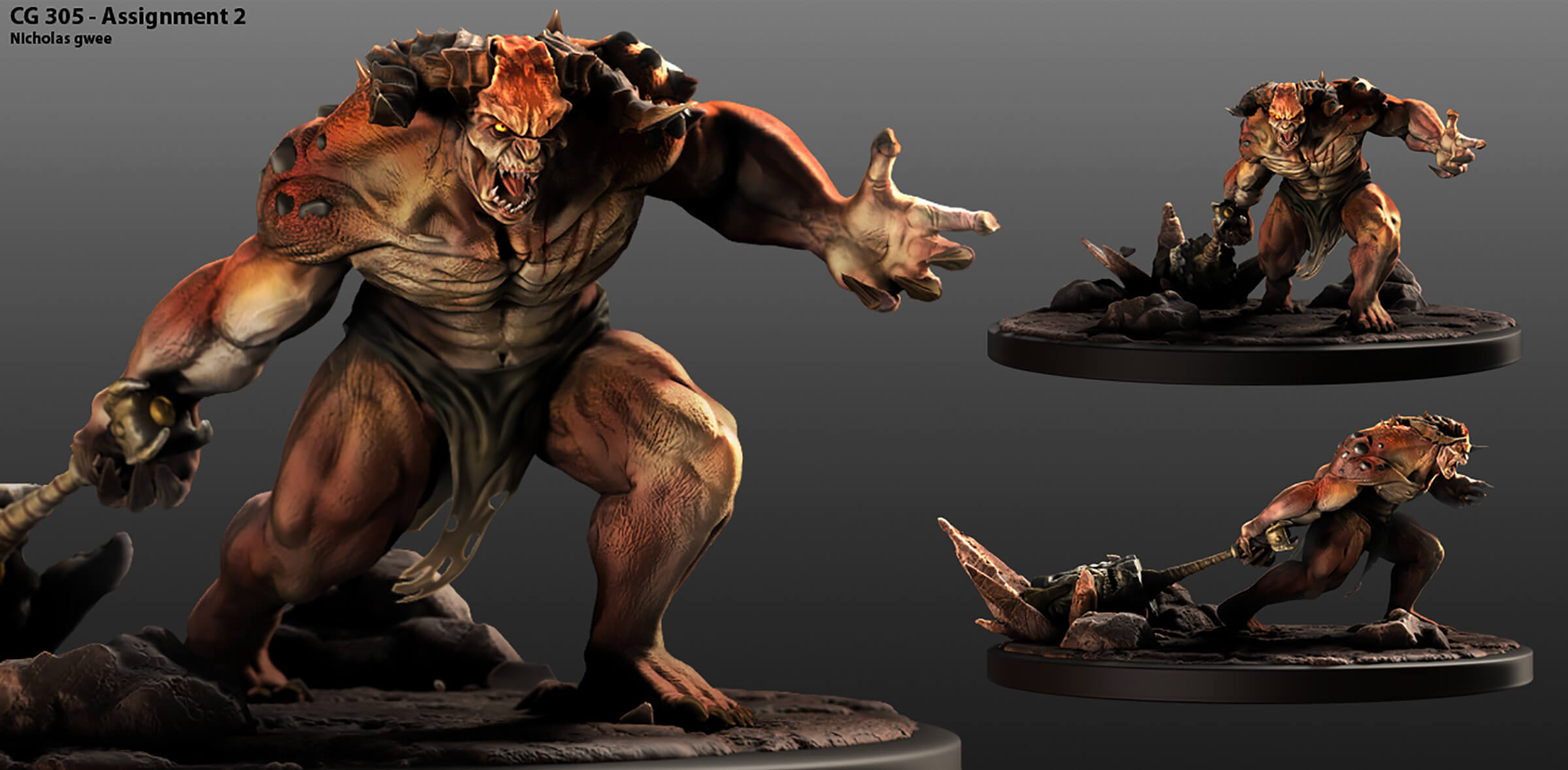 various views of a 3D model of a giant ogre character