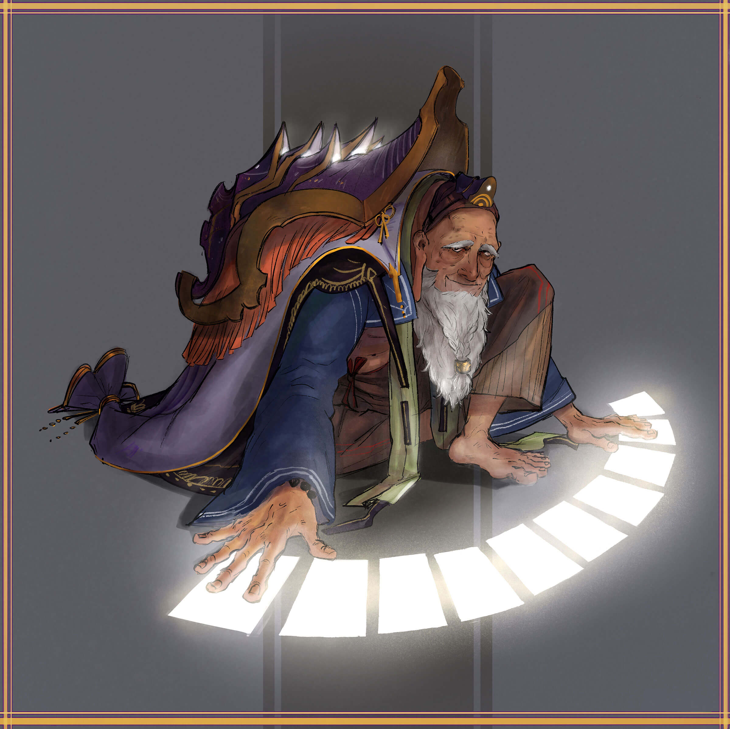 A man with a white beard and purple cape lays out glowing tarot cards