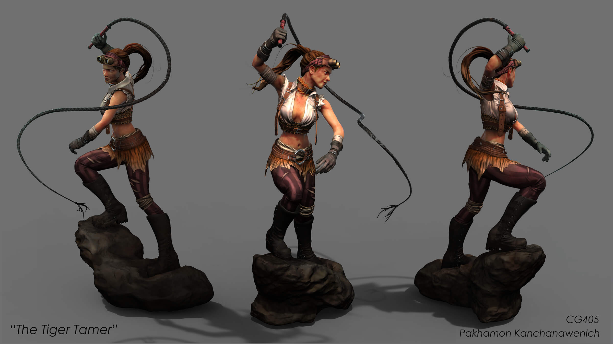 Multiple angles of a woman wearing goggles, brandishing a whip