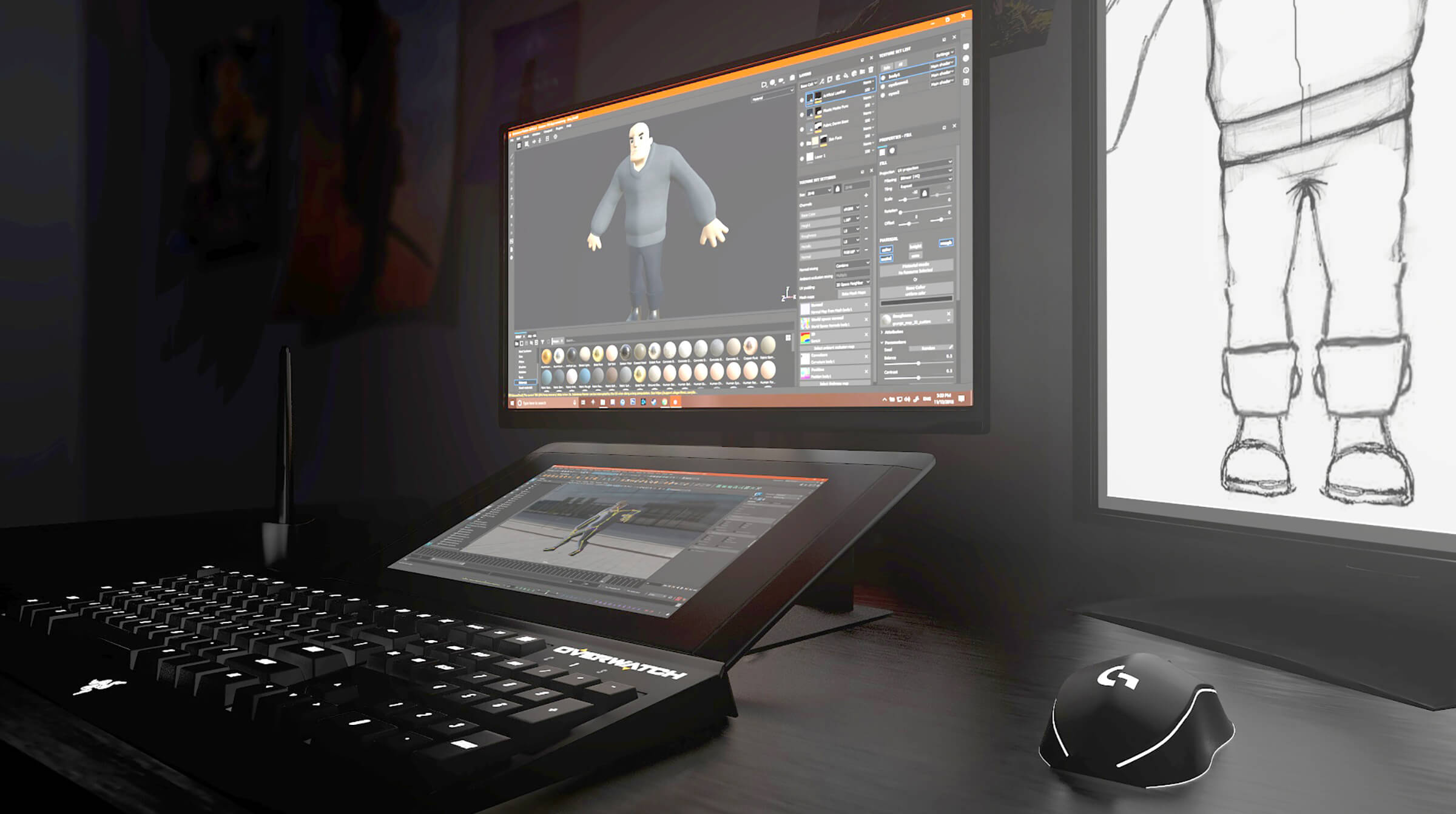 A 3D modeling project on a tablet computer hooked up to a monitor