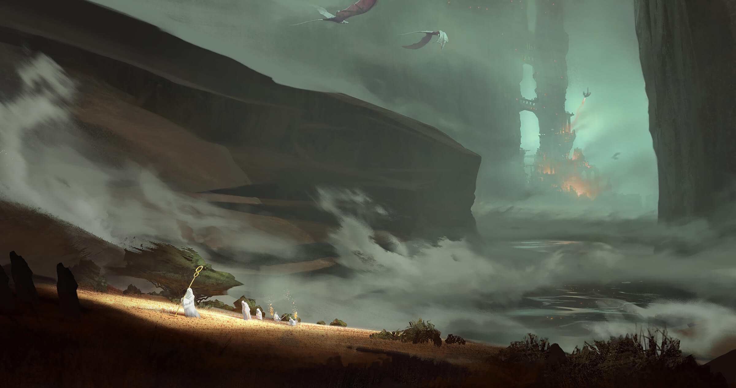 digital painting of pterodactyls flying over white-clad shepard-like characters toward a distant fiery structure