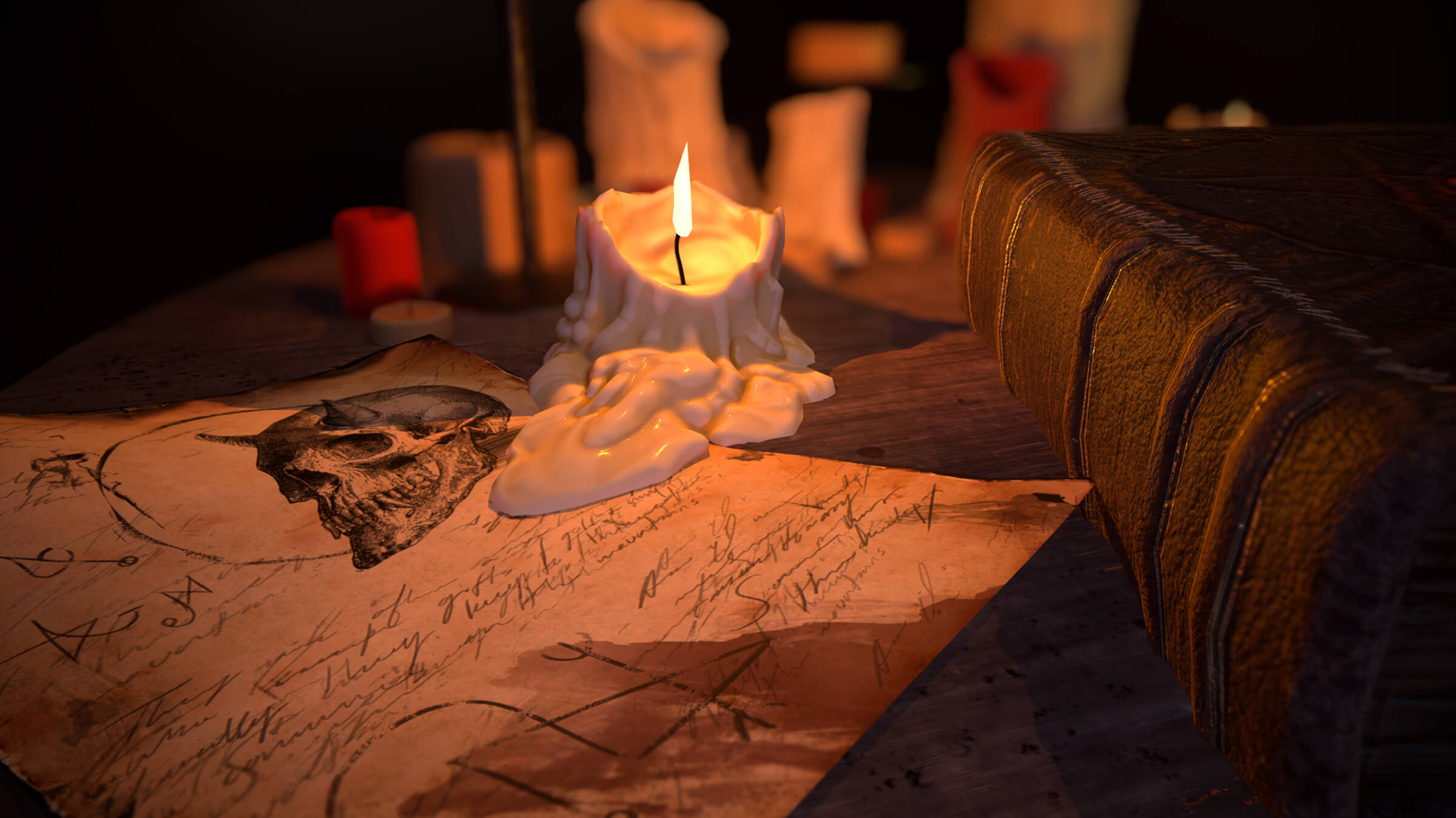 computer-generated 3D environment featuring a melting, lit candle dripping wax on a skull-adorned parchment