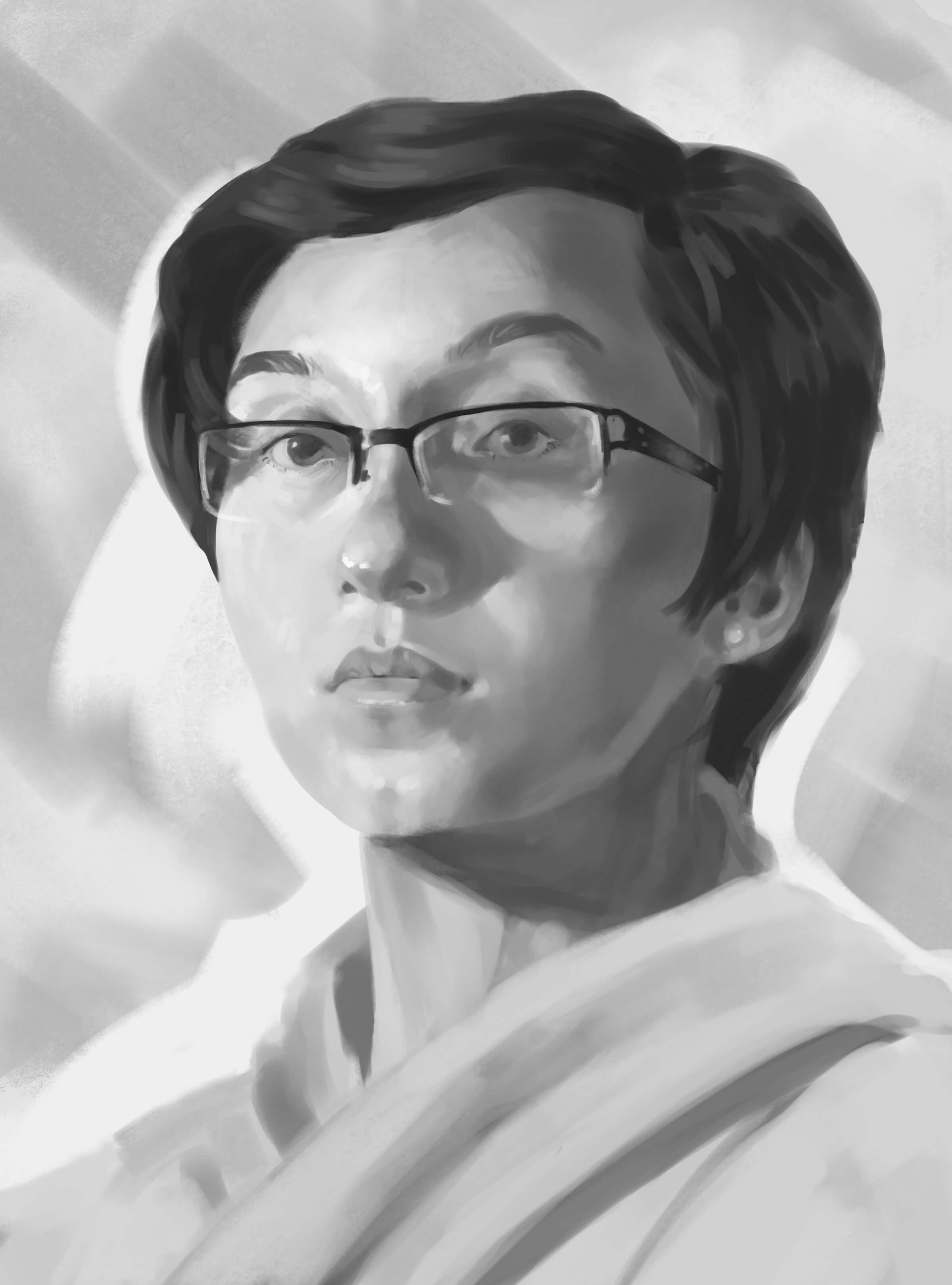 traditional painting portrait of a korean woman with glasses and short hair