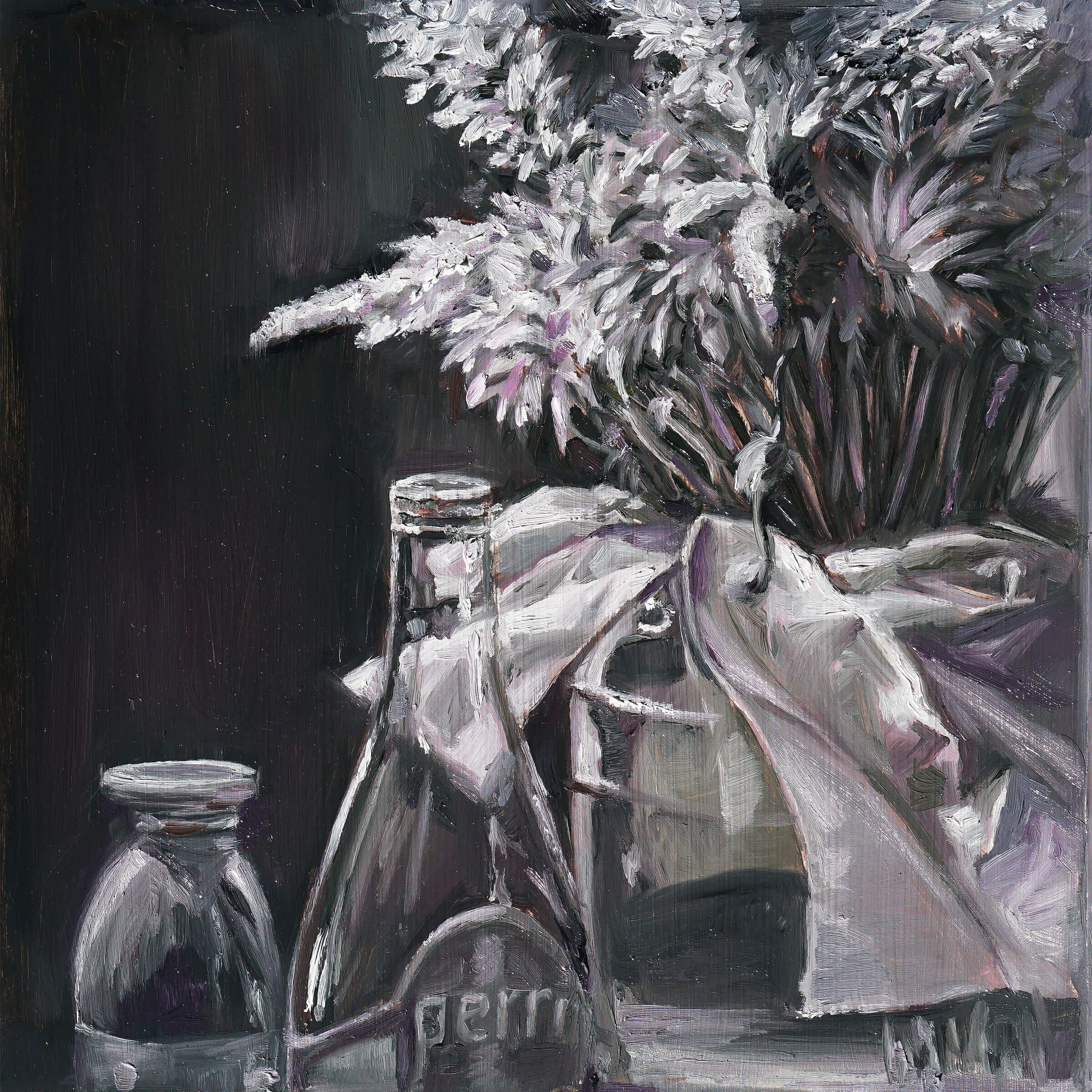 Still-life with a Perrier bottle and flowers in a glass jug