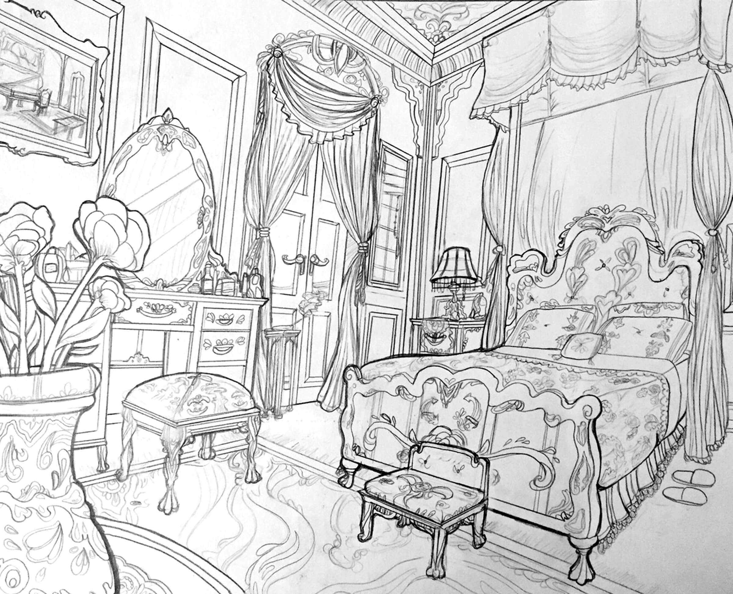 perspective drawing of an elaborate bedroom with swags of fabric, ornate furniture, and a vase filled with flowers
