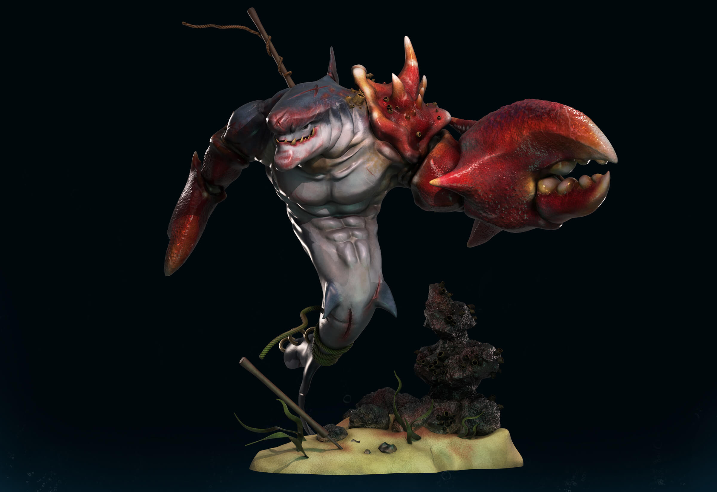 A creature with a dolphin's head and lobster claws