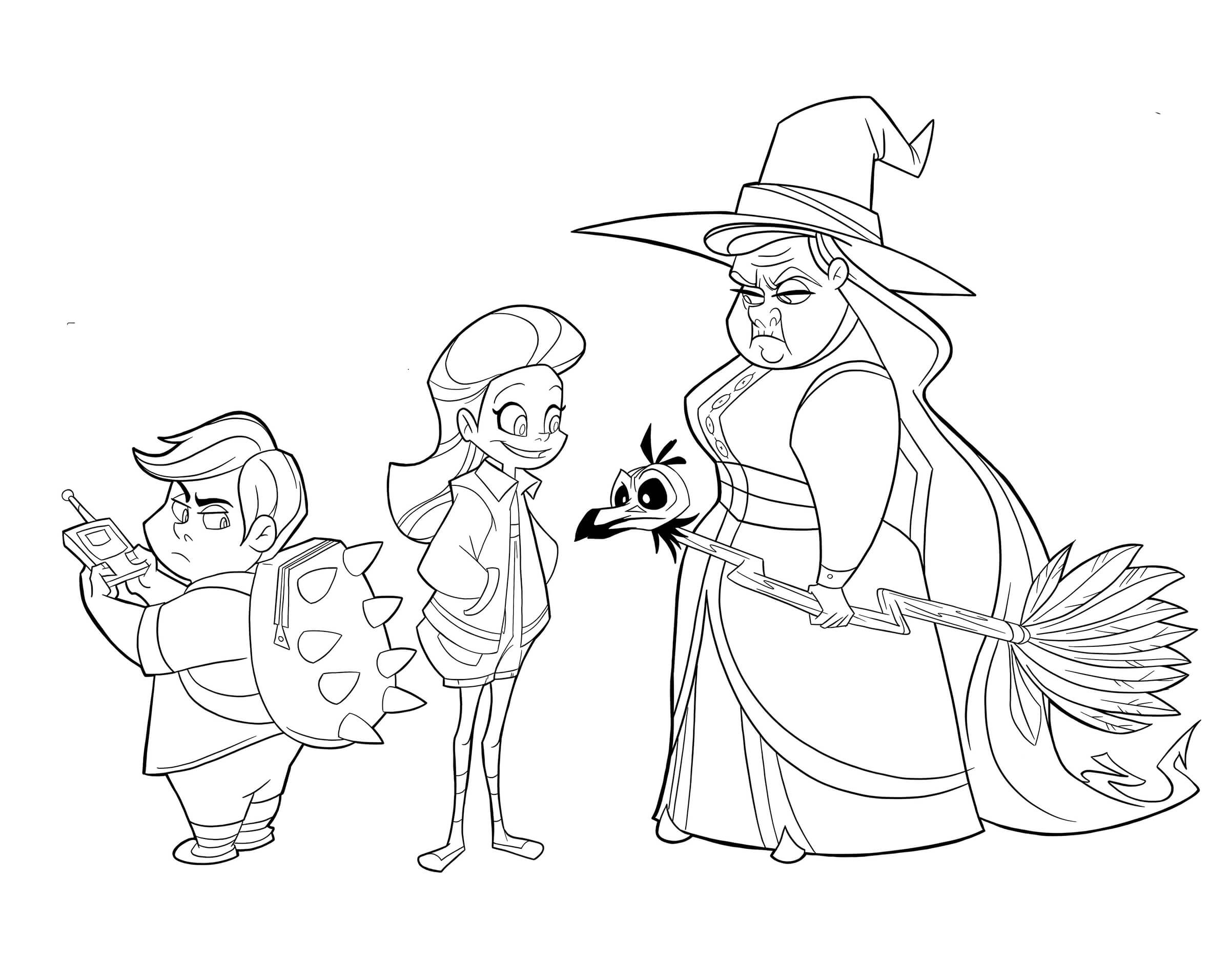 A digital drawing of a cartoonish witch and two children