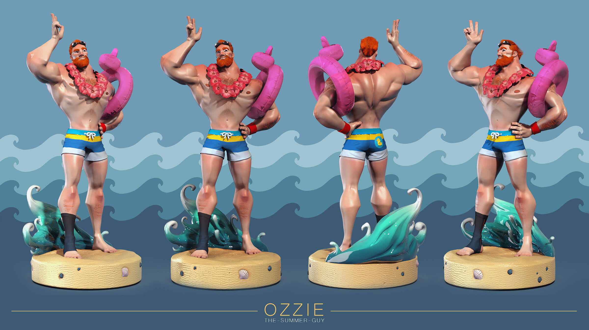Multiple views of a muscular man wearing swimming trunks and a lei