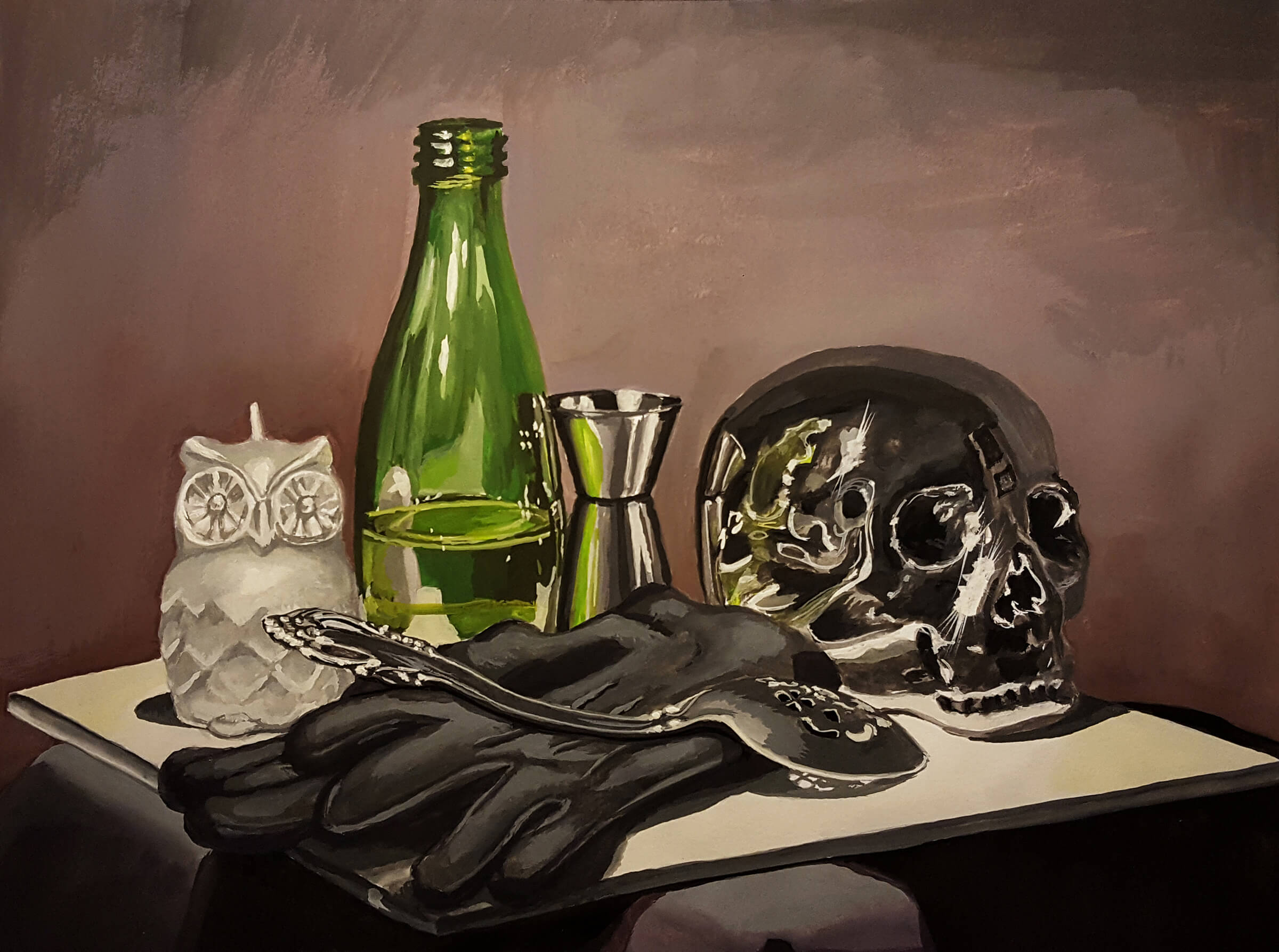 still-life traditional painting of an owl-shaped candle, green bottle, human skull, black gloves, and a spoon
