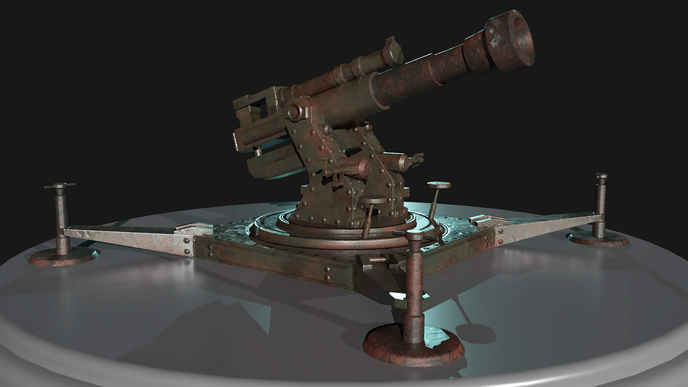 A large weapon on a turntable