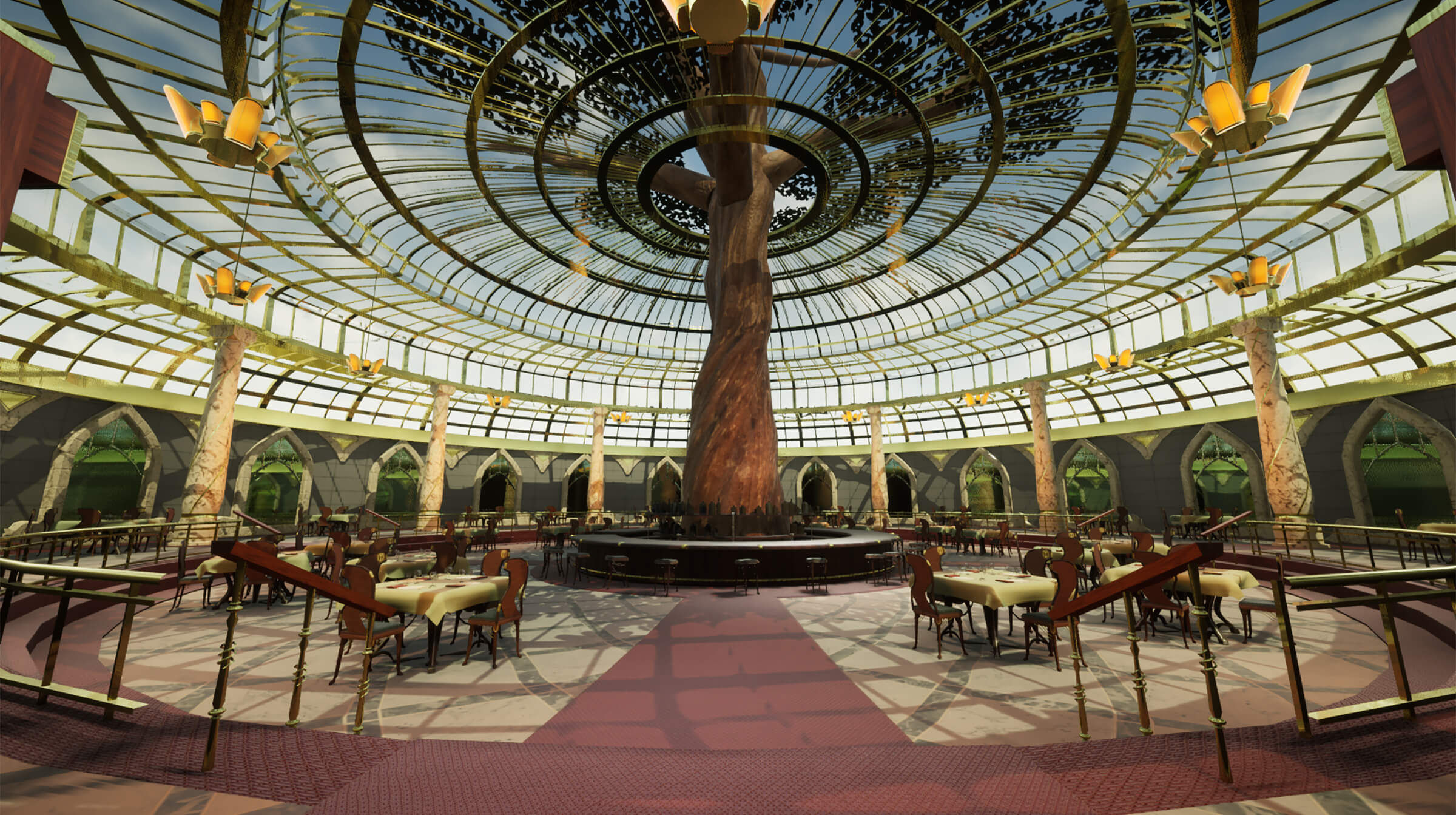A large dining area with a tree growing through the glass roof