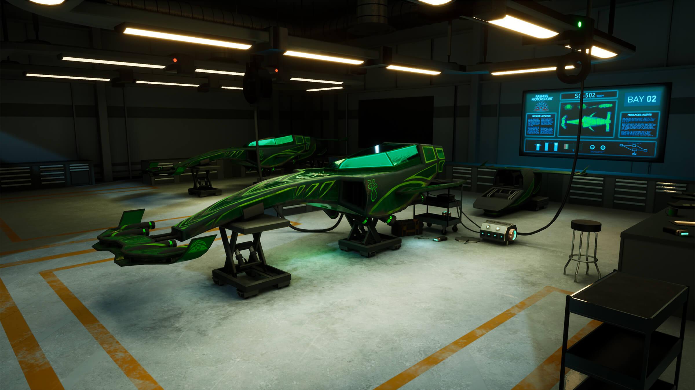 A sleek race car on blocks in a garage