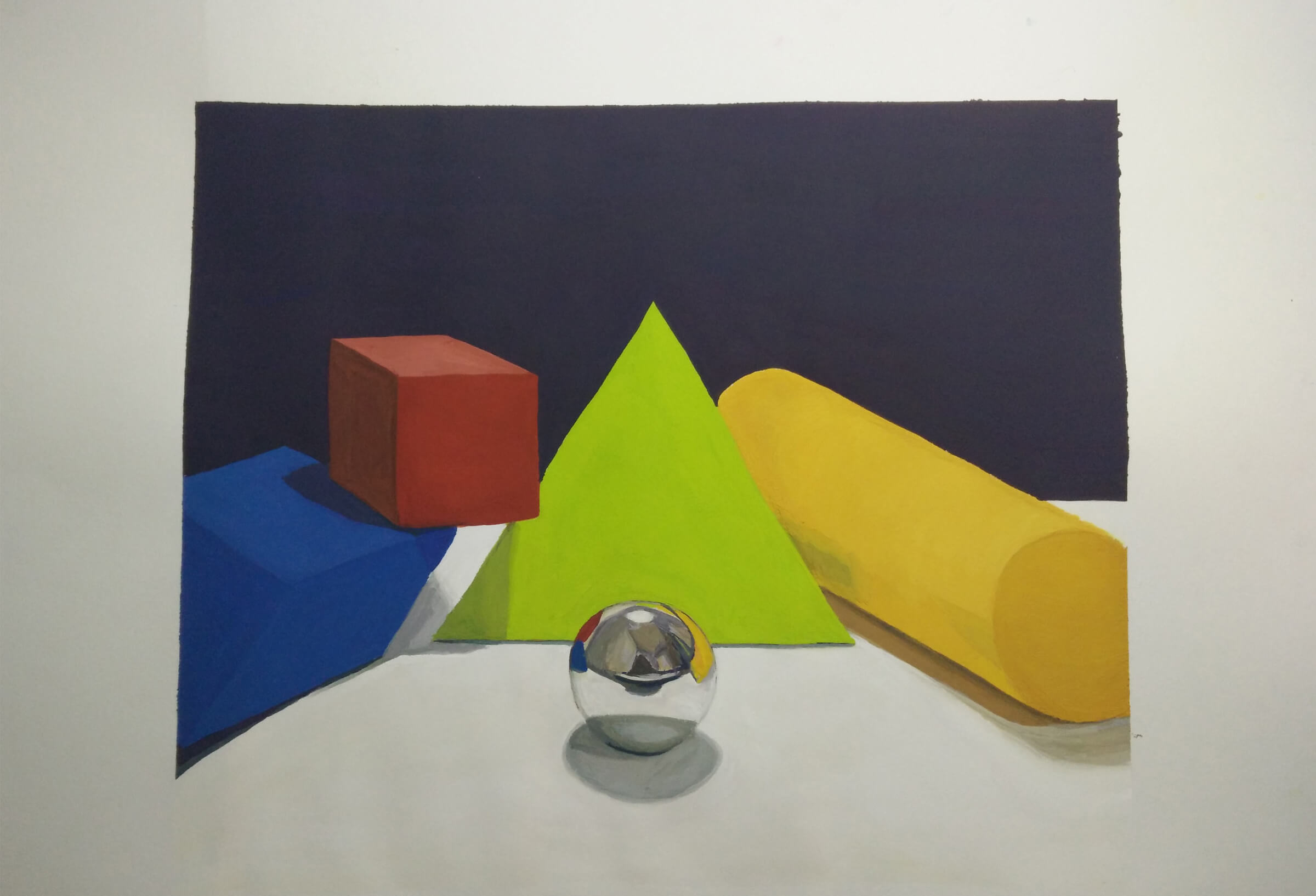 still-life traditional painting of a silver ball surrounded by primary-colored blocks in various geometric shapes