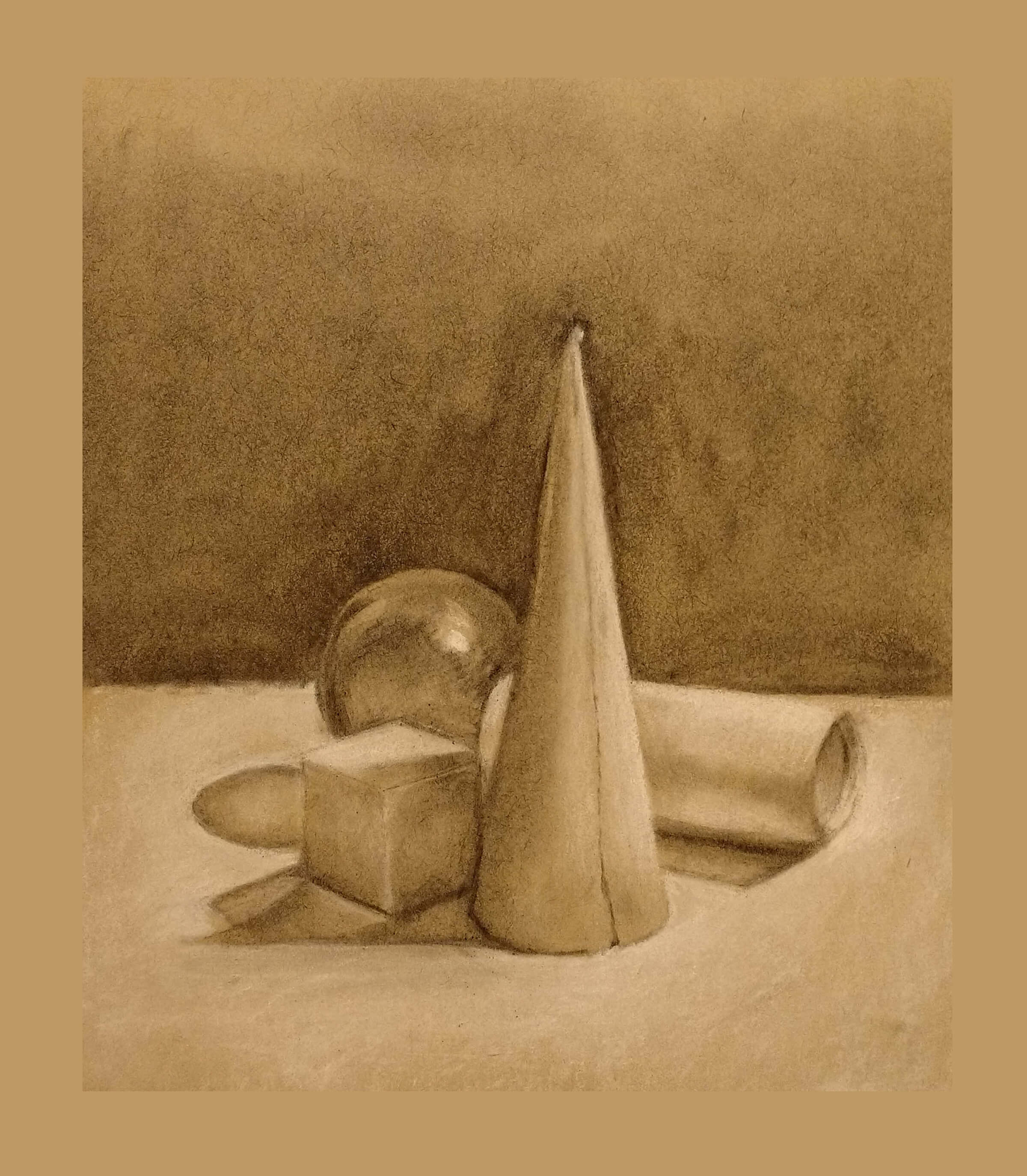 still-life, monochromatic drawing of a shiny ball and blocks in various geometric shapes