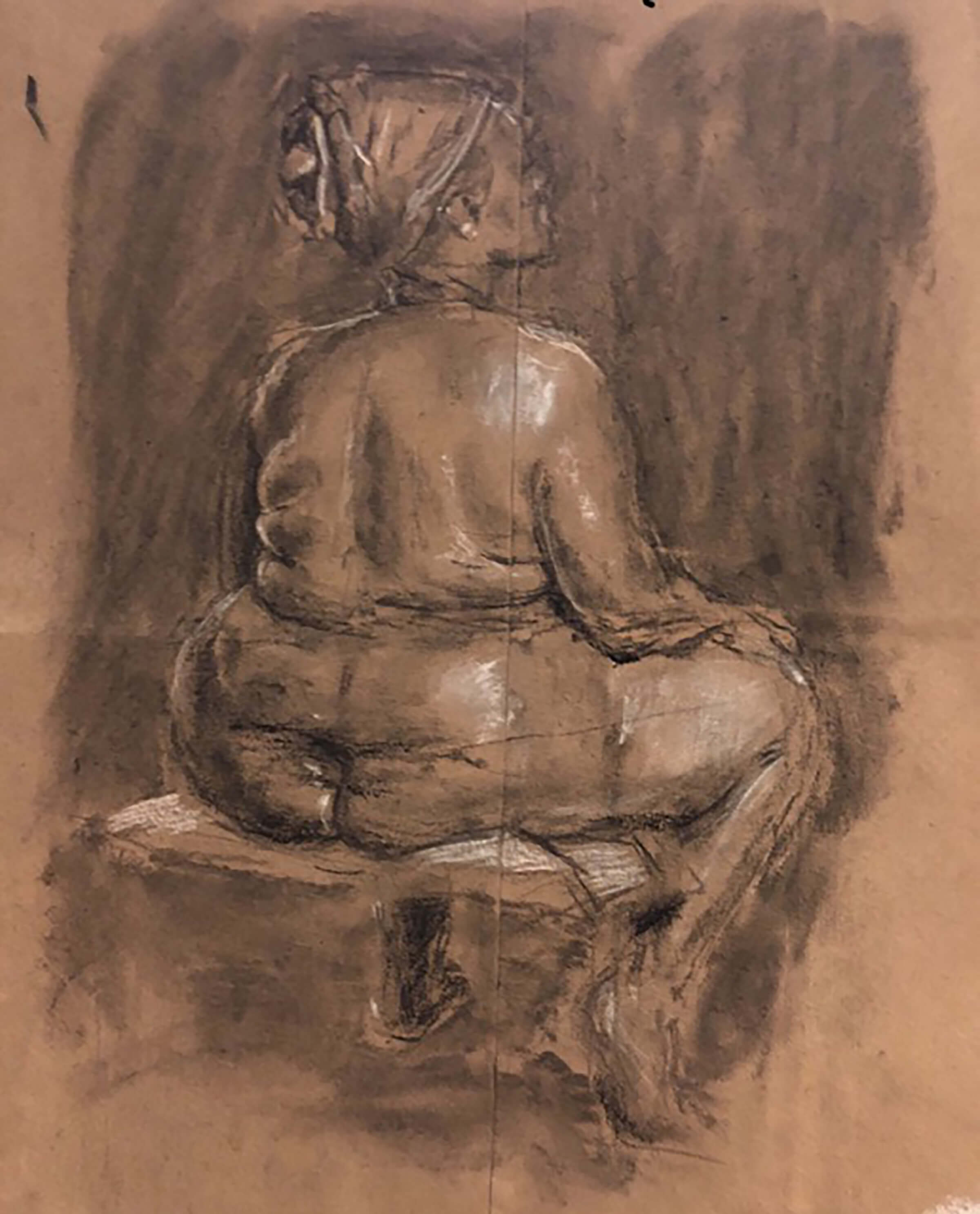 Drawing of a woman, hands on knees, sitting with her back to the artist