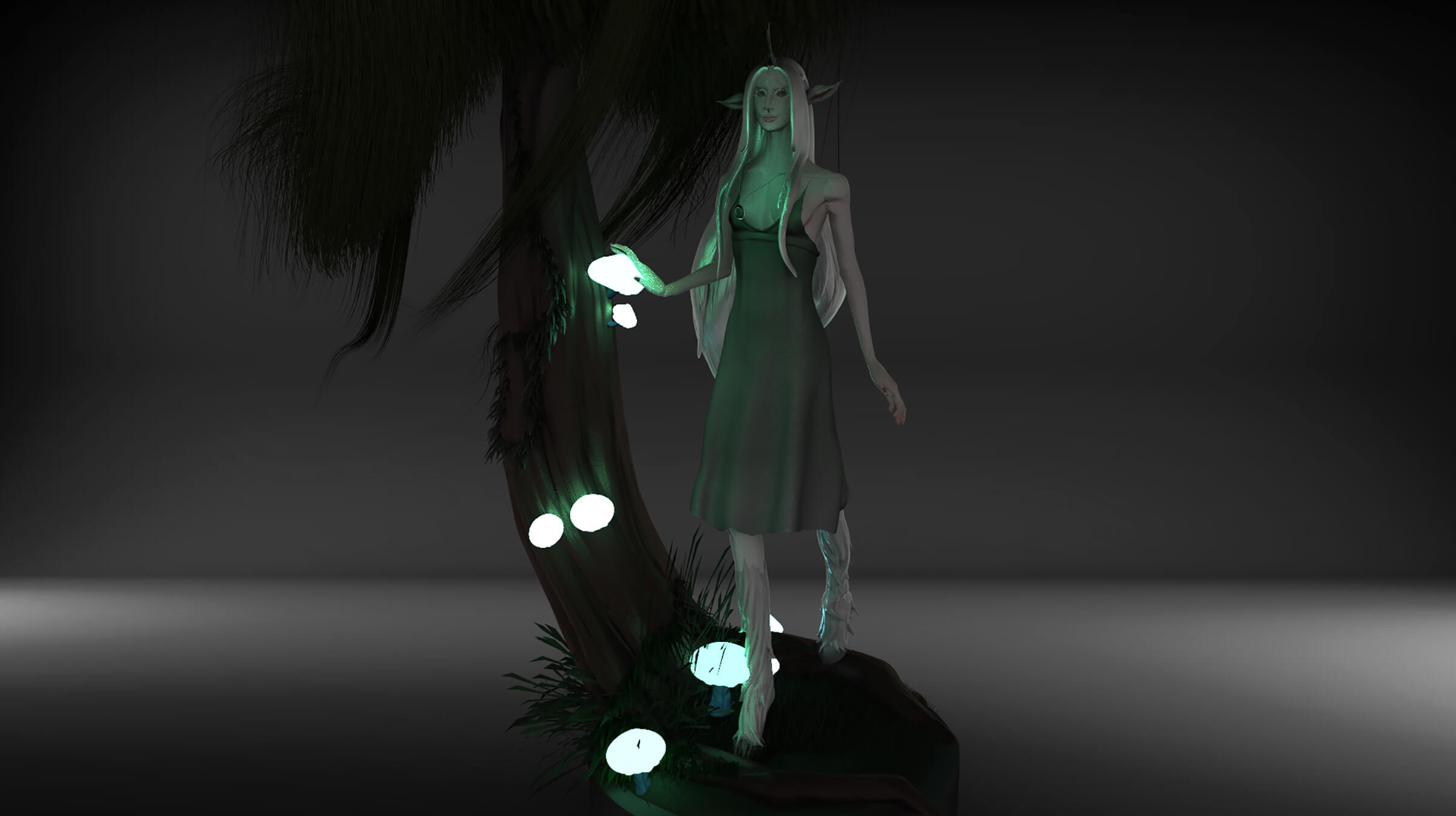 An elf-like character stands by a tree, glowing orbs floating near her