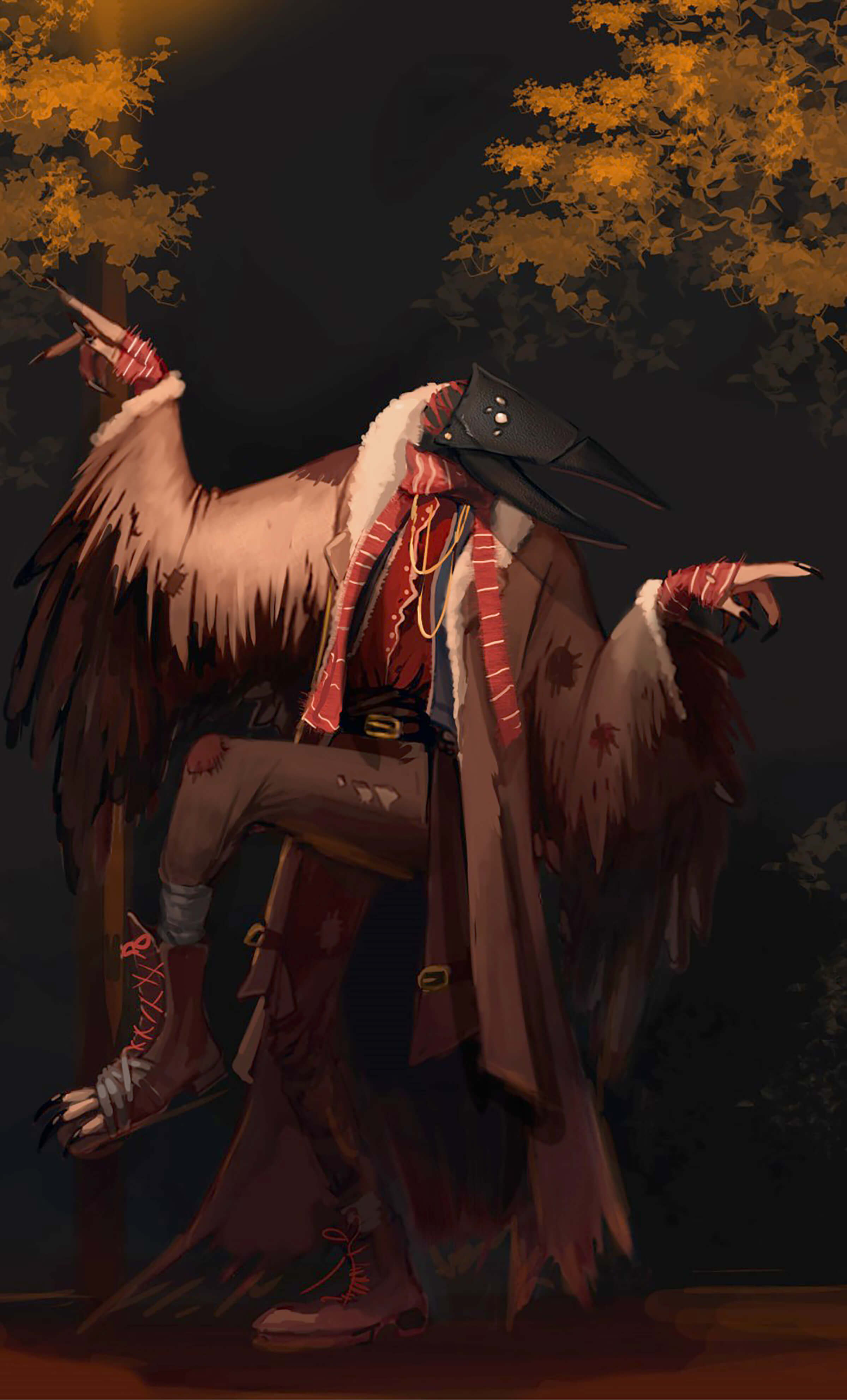 A creature with a bird mask and hands with long black fingernails