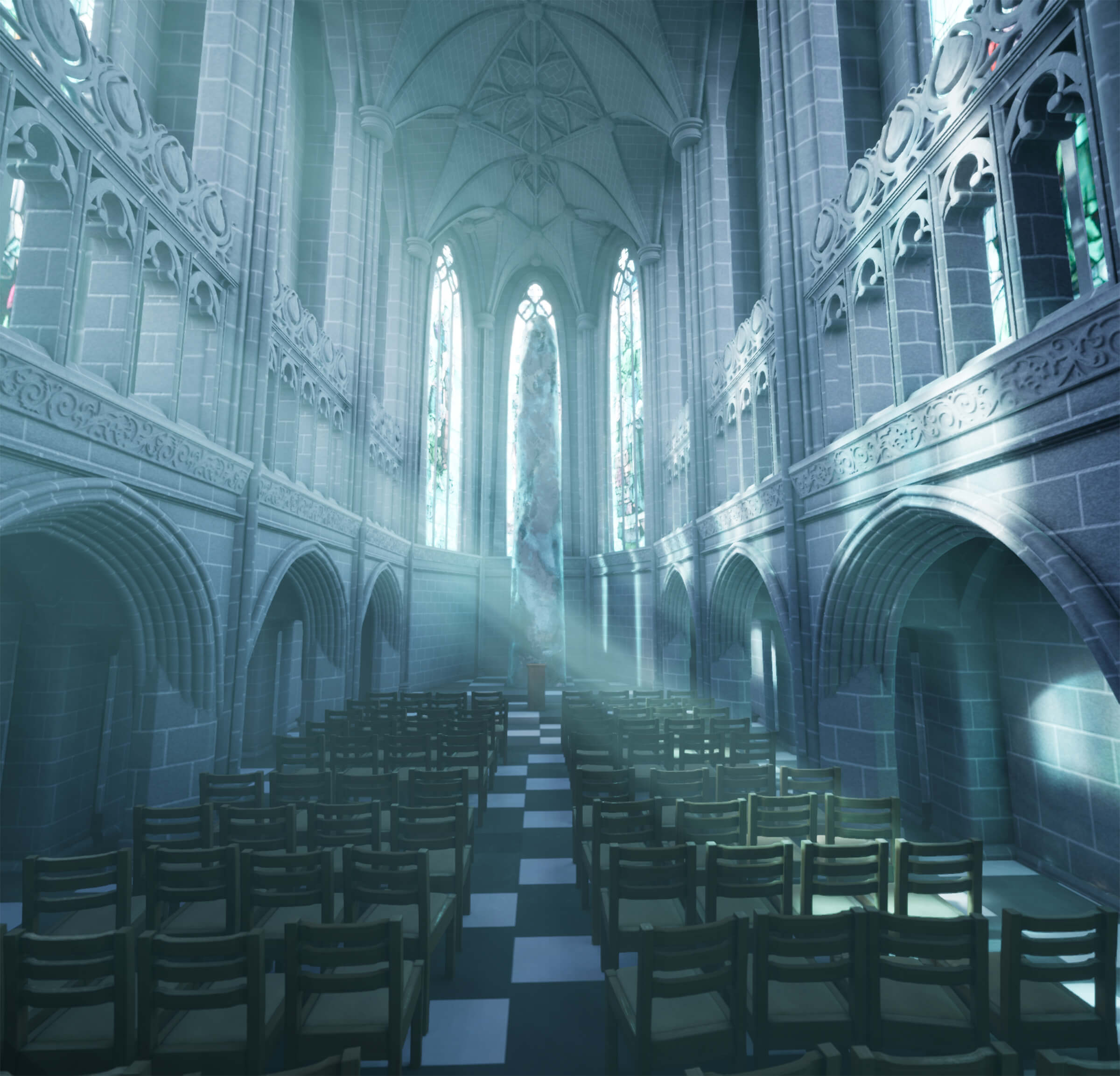 A cathedral with chairs lined up, light streaming through high windows