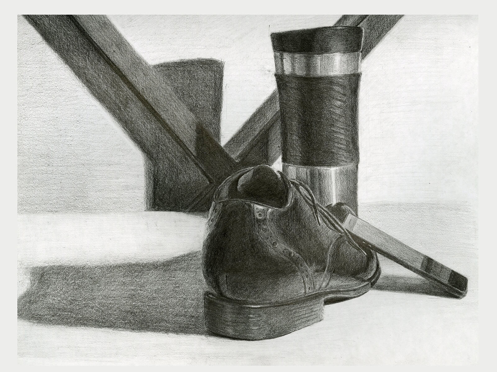 black and white still-life drawing of a travel coffee mug and man's dress shoe