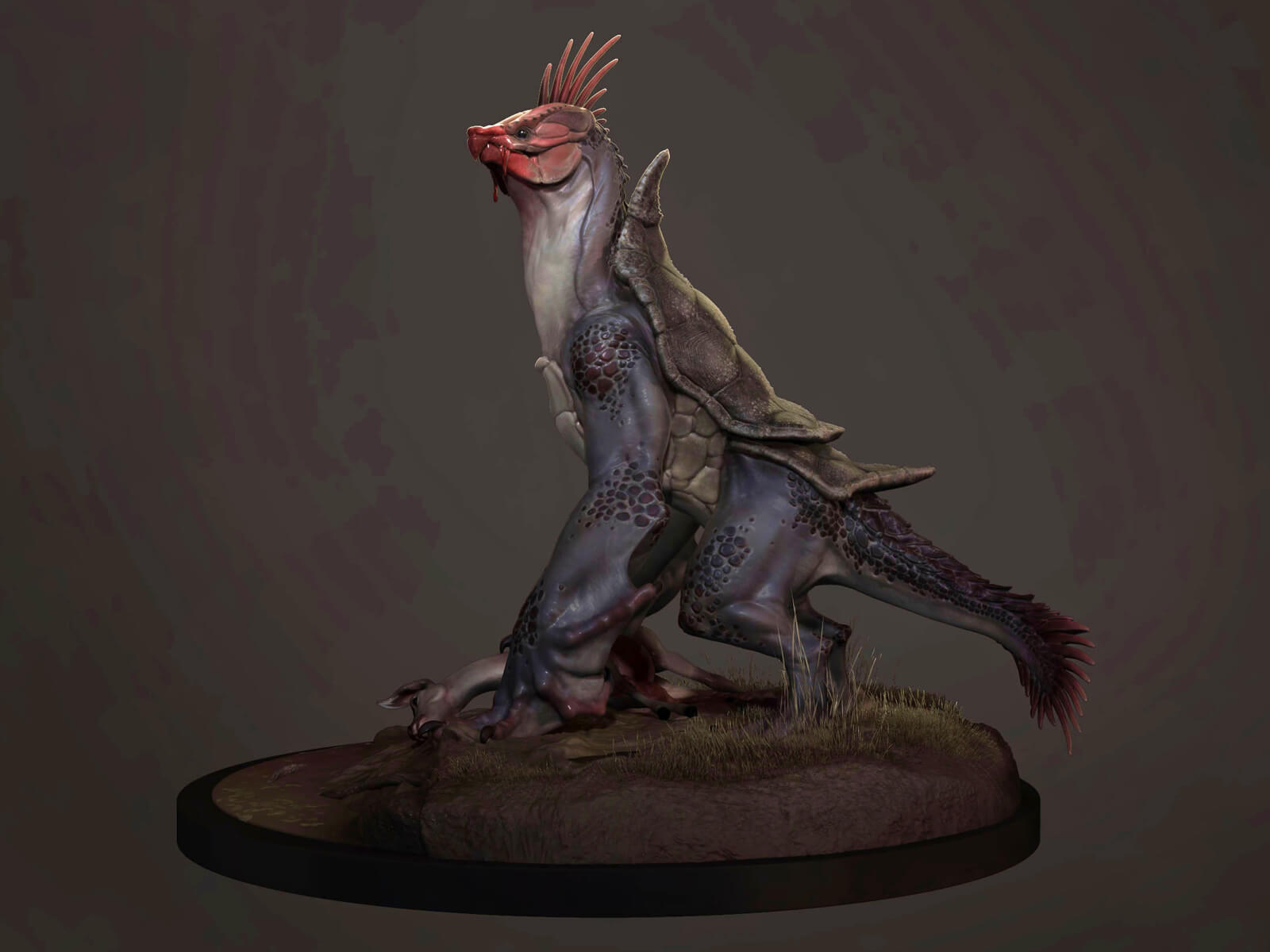 computer-generated 3D model of an animal that looks like a cross between a rooster and a lizard