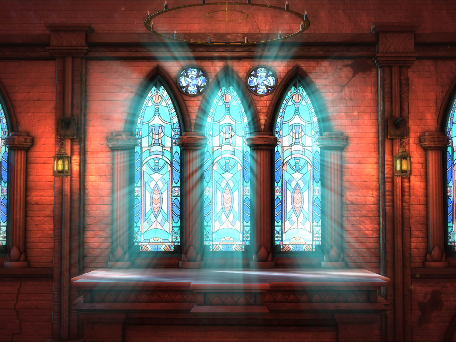 computer-generated 3D environment of the interior of a building with sun pouring through stained glass windows