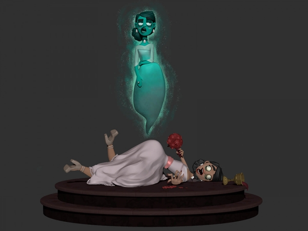 computer-generated 3d model of a female character lying on a pedestal while her ghost floats above