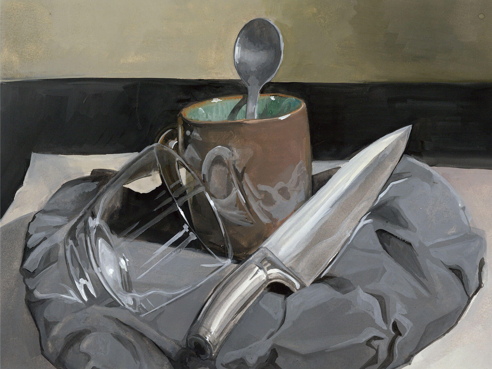 A still-life with mug, glass and kitchen knife resting on a cloth
