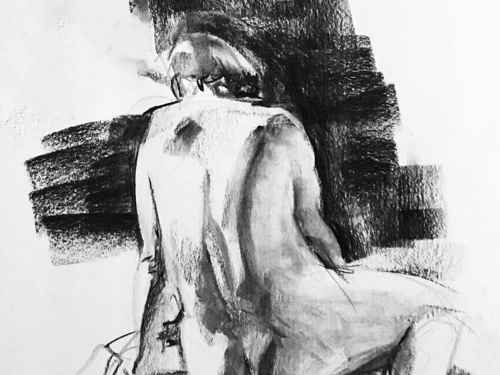 A sketch of a nude woman sitting down, her back to the artist