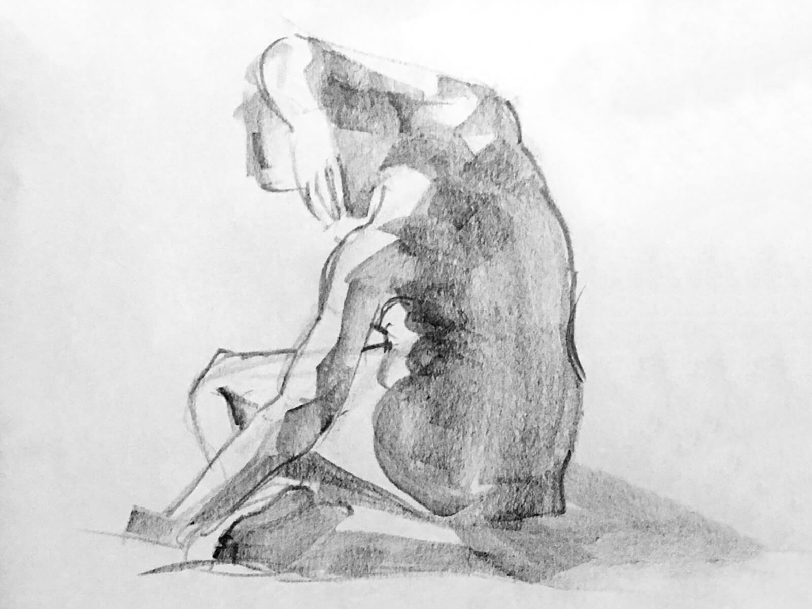 A sketch of a nude woman sitting down, her arm over her head