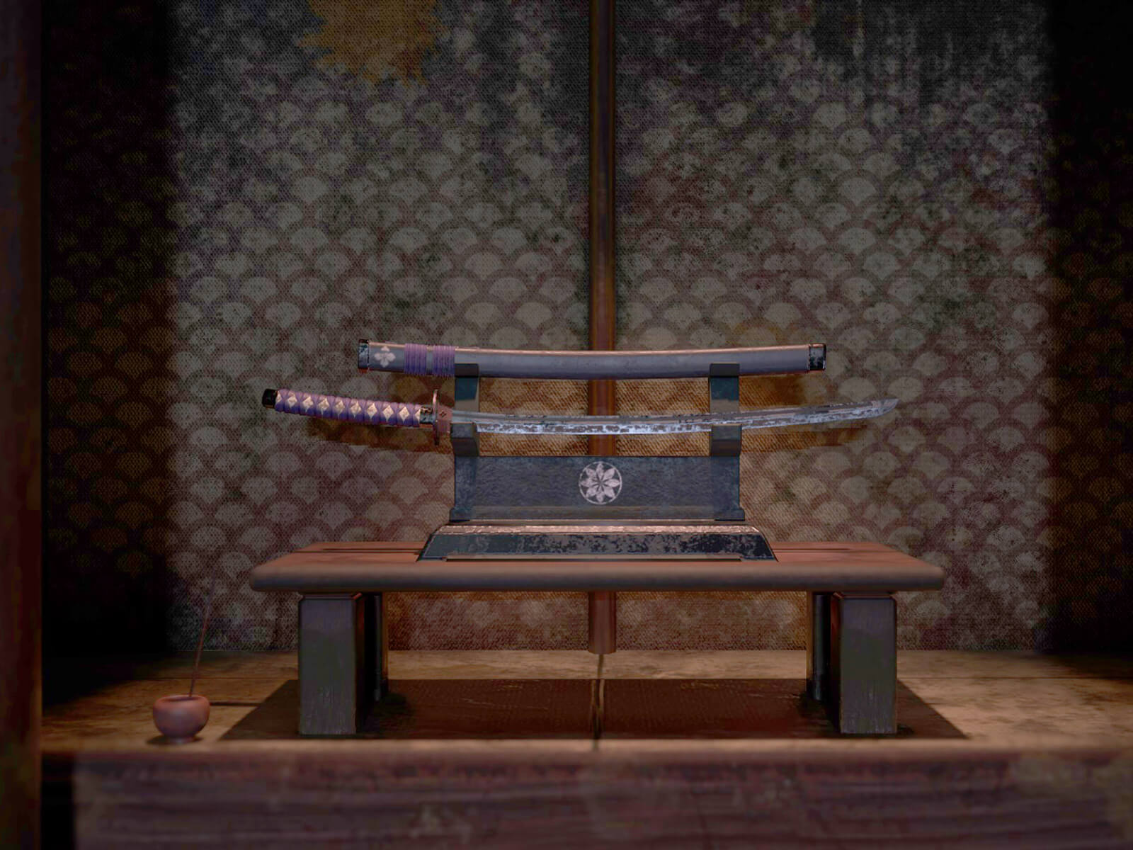 Ancient sword presented on a bench in an alcove