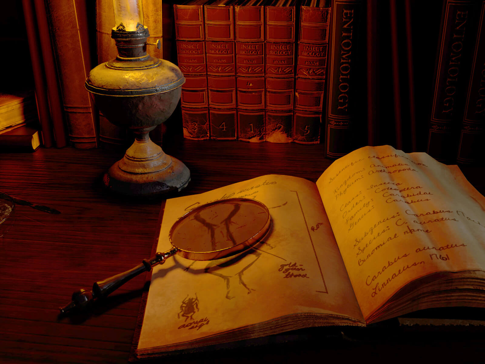 A book with a magnifying glass lying on top of it, lit by a lantern