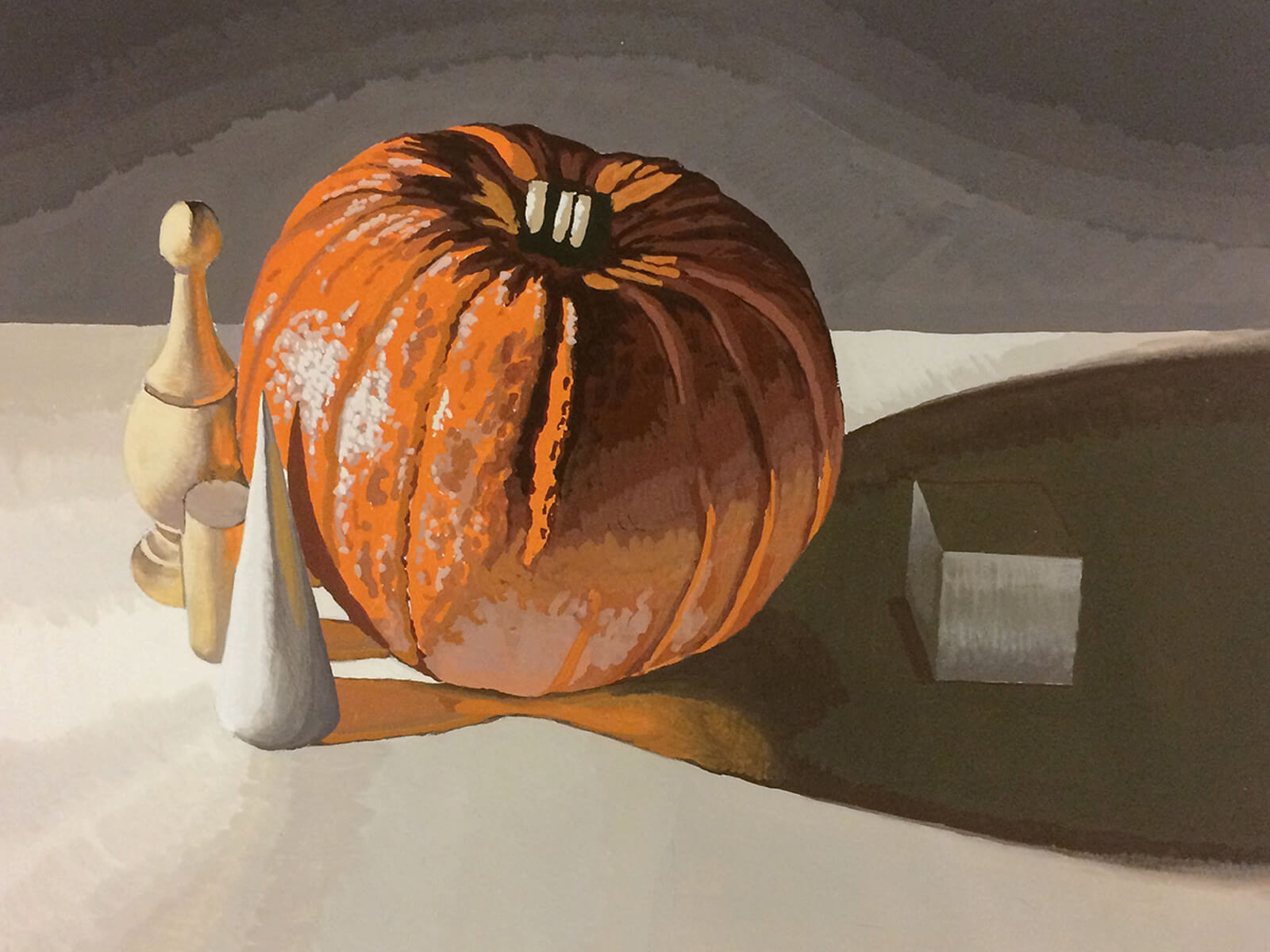 still-life traditional painting of a pumpkin with various objects, including a cube, surrounding it