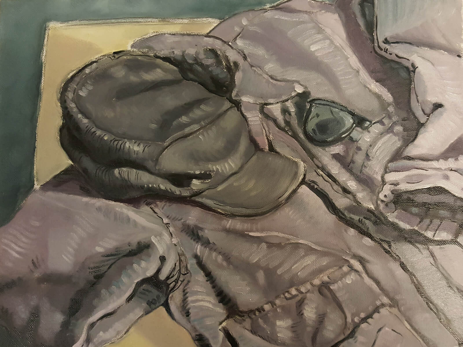 still-life traditional painting of a jacket, cap, and sunglasses