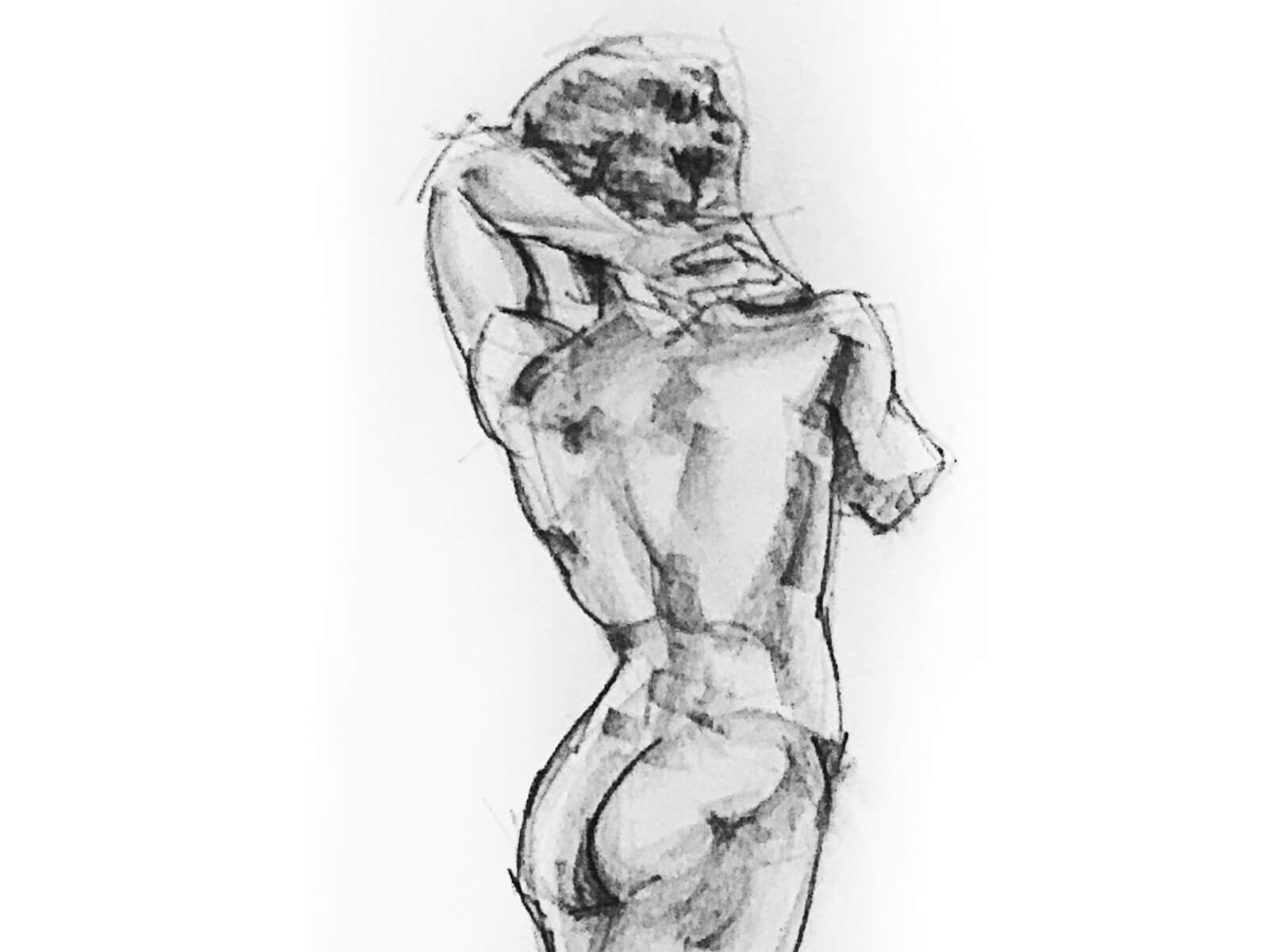 A sketch of a man with his back to the artist, his arm behind his head