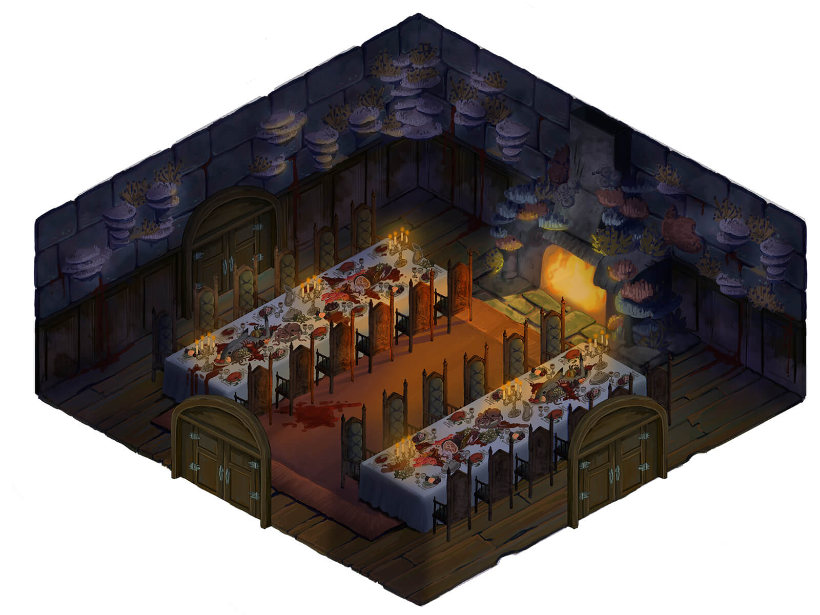 A top-down view of a dungeon with two tables laid with a feast