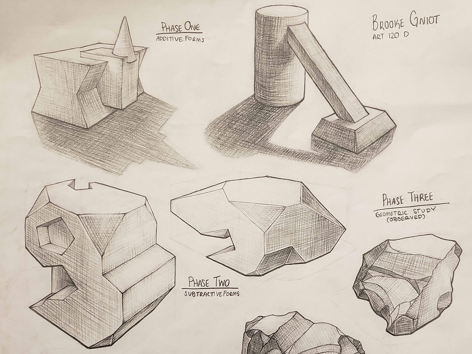 Several pencil drawings of rocks and geometric shapes