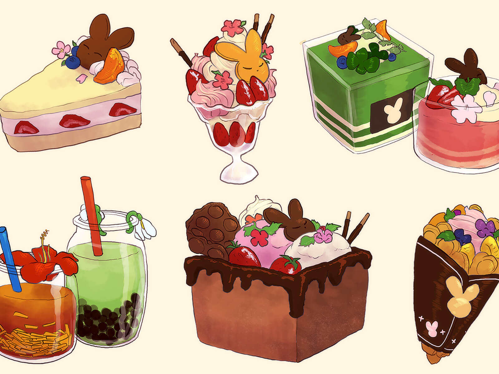 Many colorful drinks and desserts