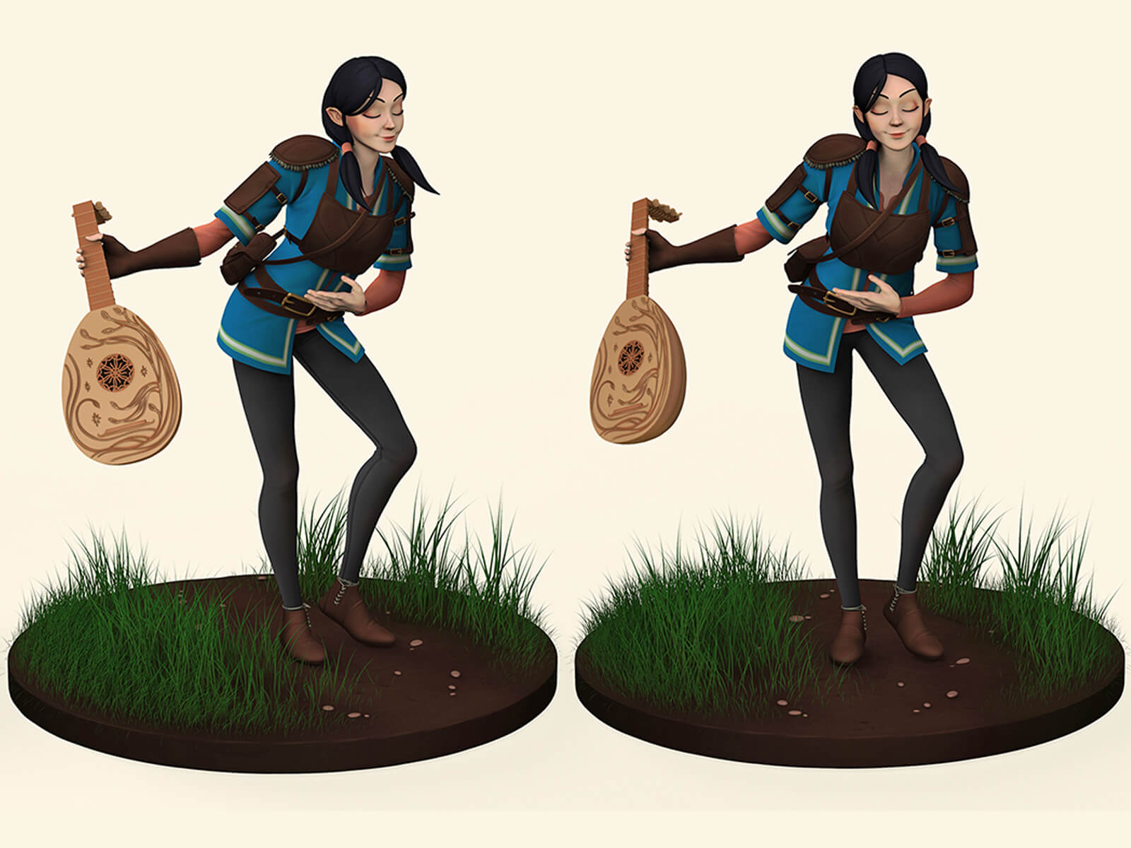 2 views of a computer-generated 3D female character taking a bow with a guitar: partial profile and head-on