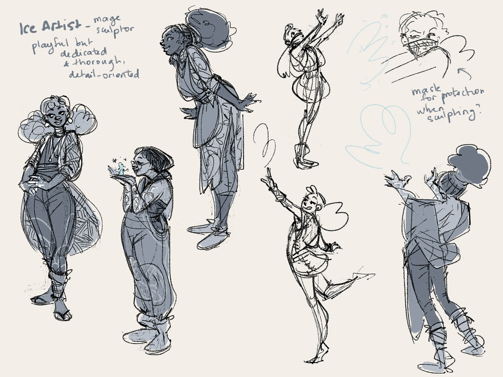 Multiple views of a woman dancing, creating, and standing