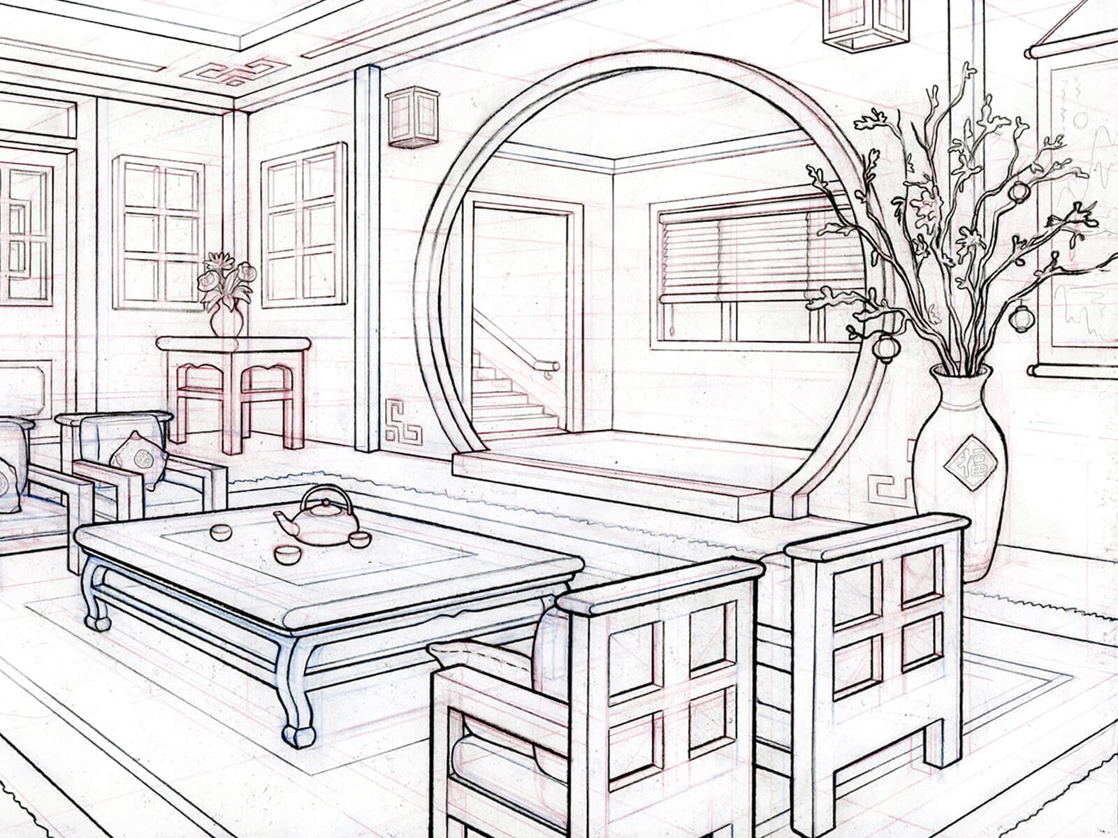 perspective drawing of an asian-inspired living room with a large circular entry