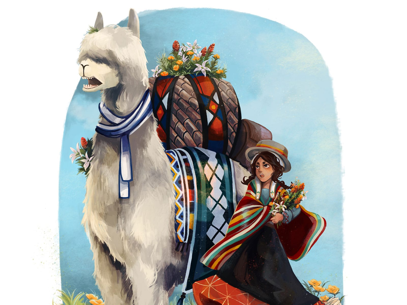 An open-mouthed girl and her llama, both in traditional dress