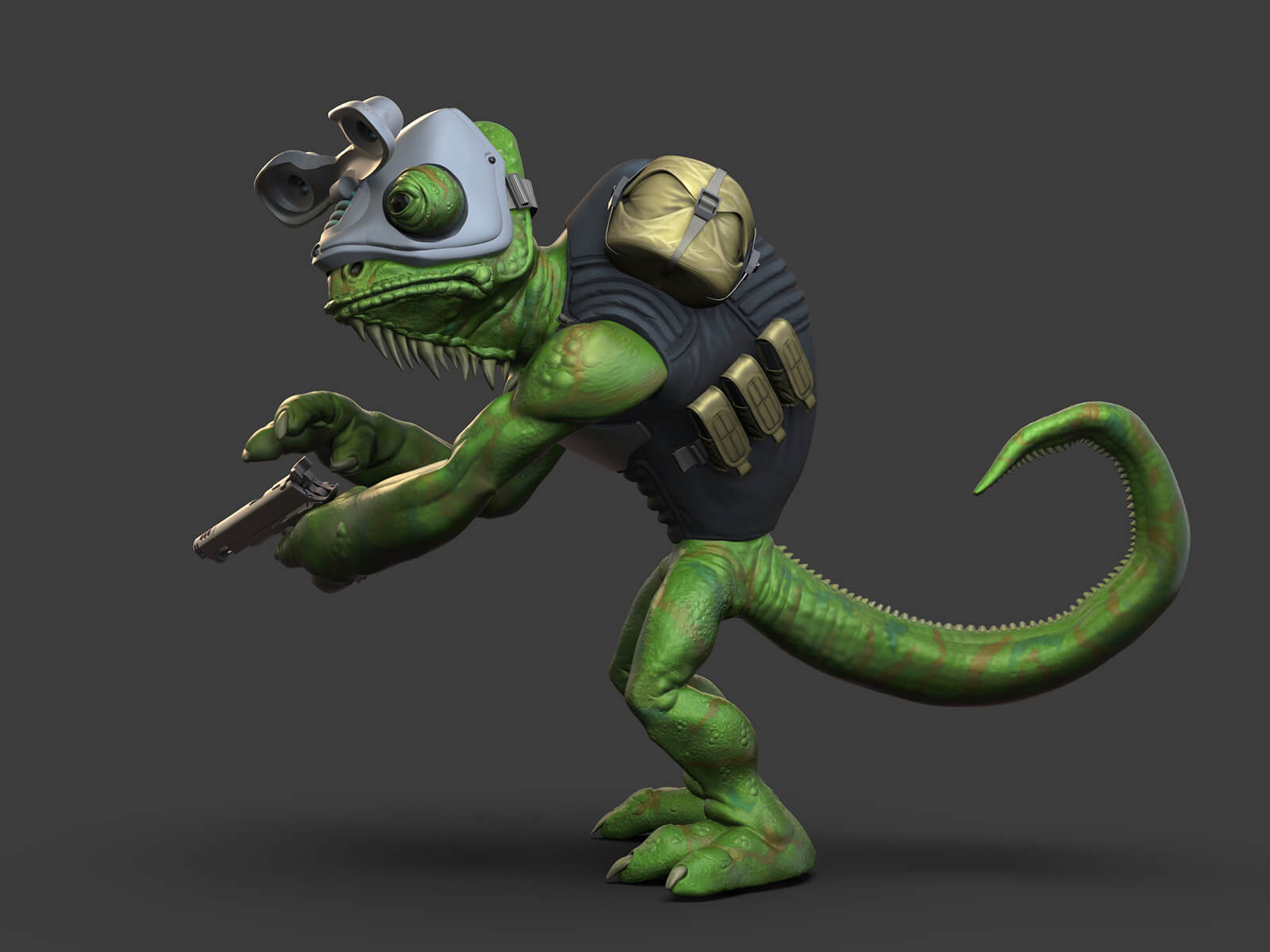 Side view of a lizard wearing goggles and carrying a gun