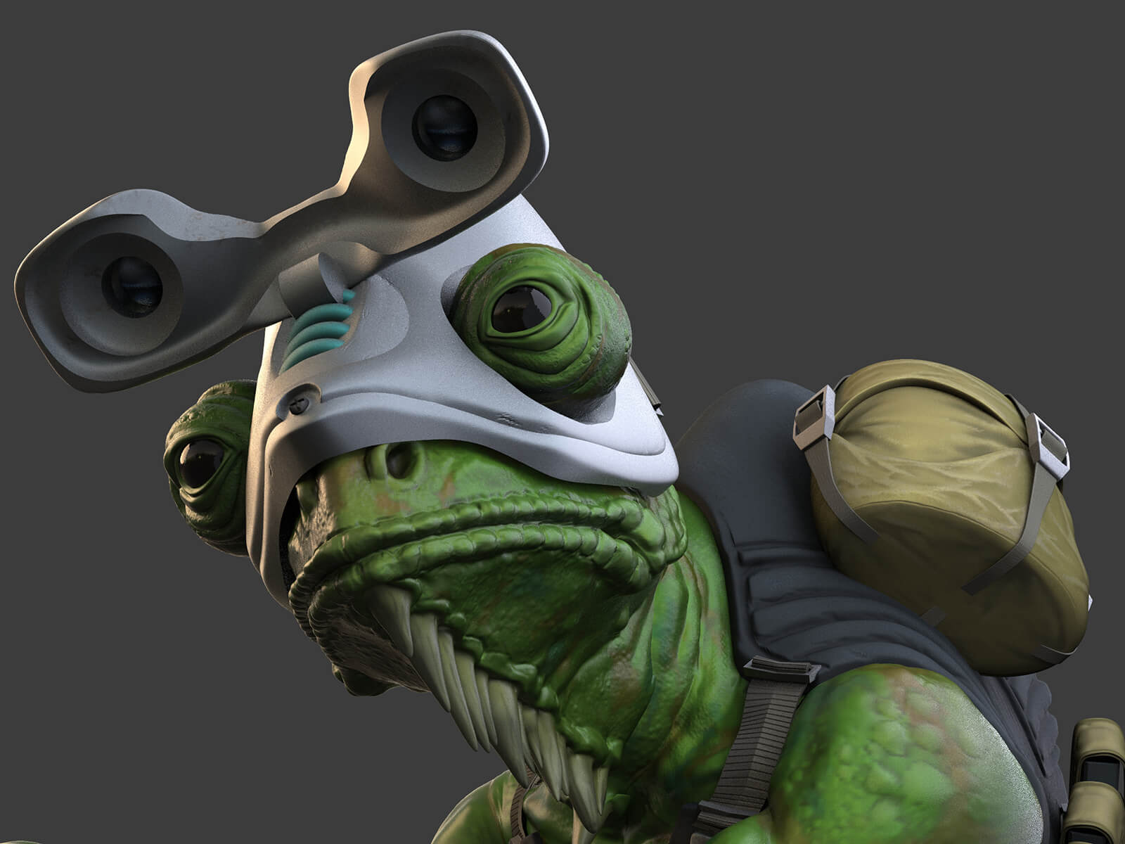 Close-up of a lizard wearing goggles and carrying a back pack