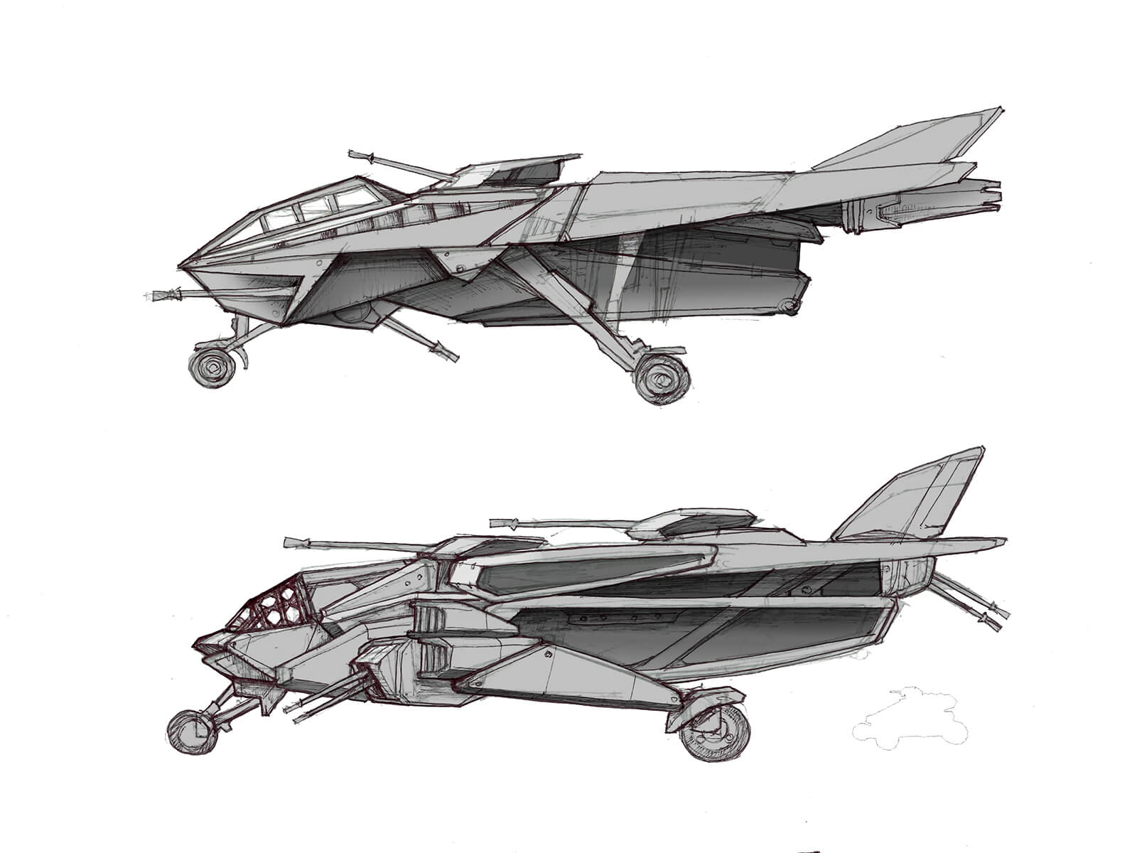A sketched military aircraft