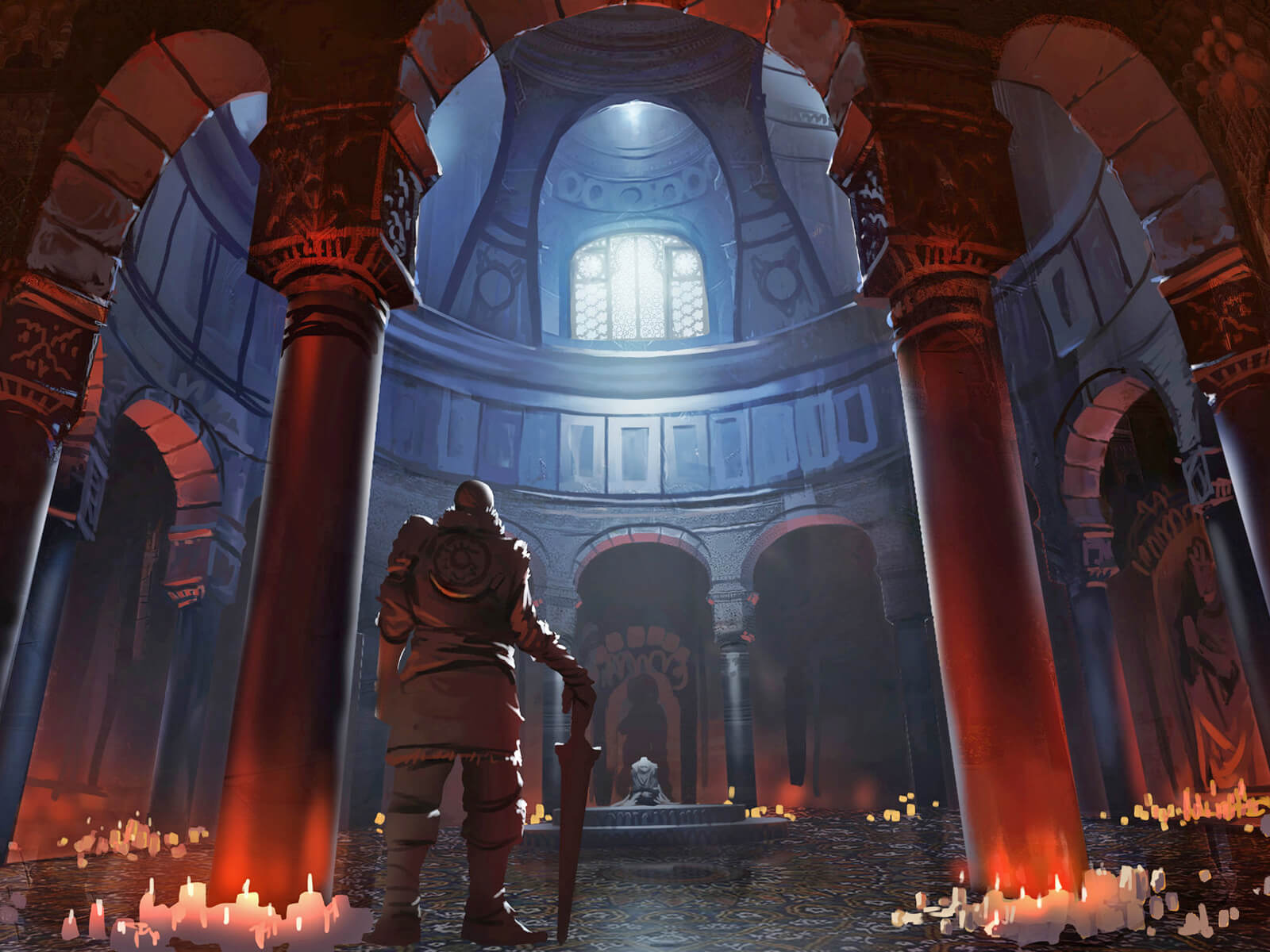 digital painting of a male character with a sword gazing into a circular room with lit candles all around