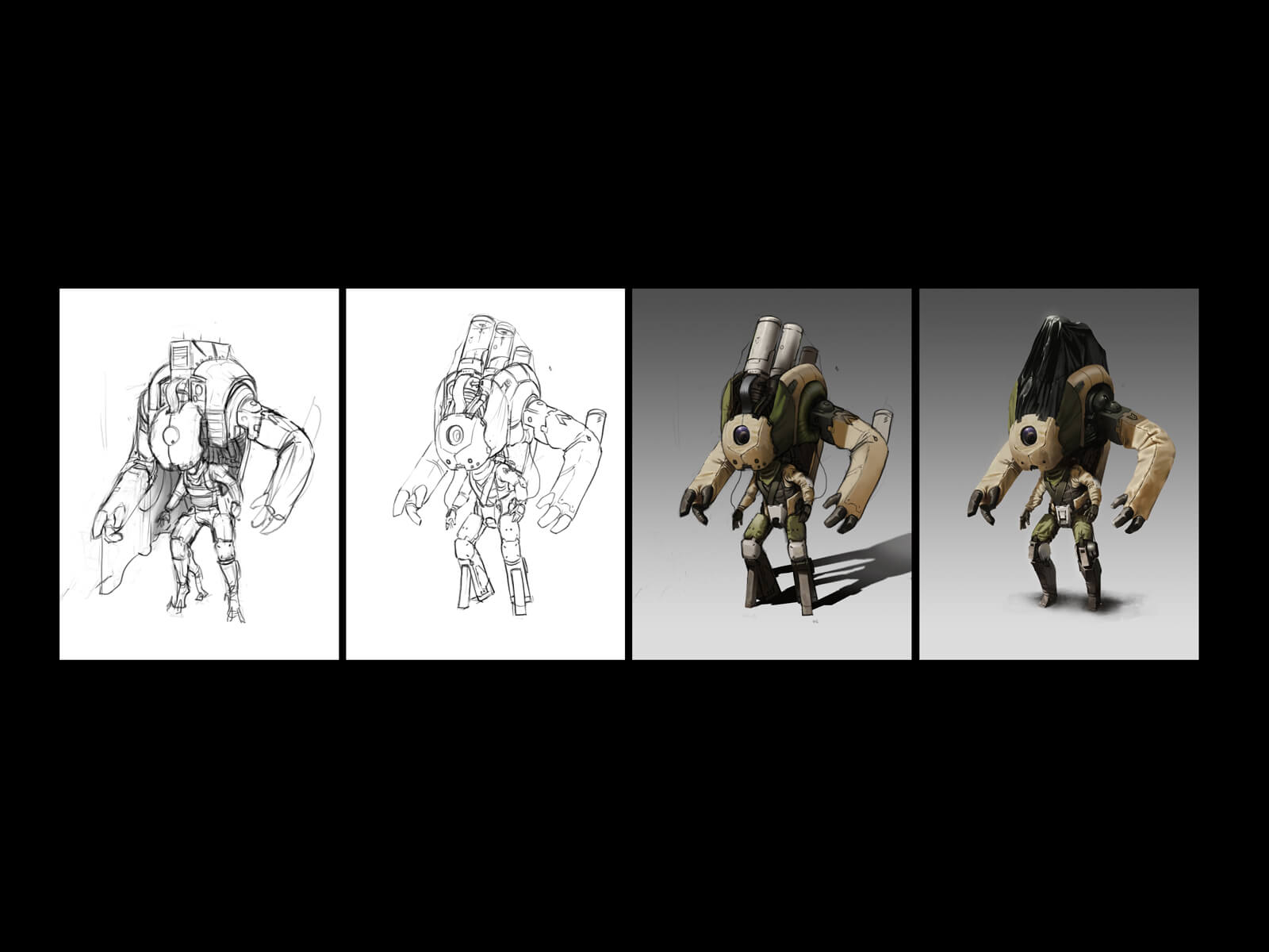 four views of a robot-human hybrid character from black and white sketch to final digital painting