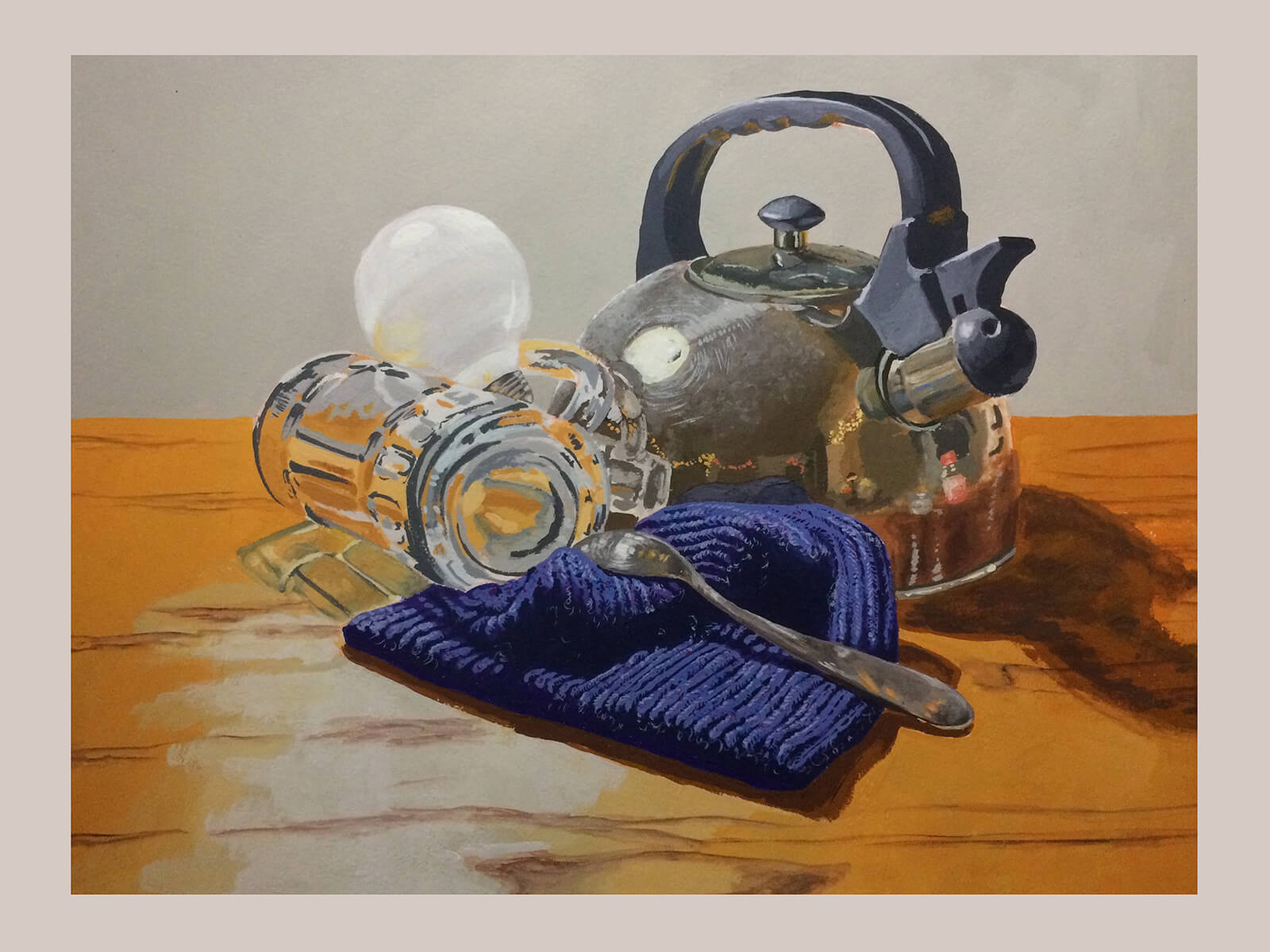 still-life-traditional painting of a tea kettle, lightbulb, blue napkin and spoon on a wooden surface